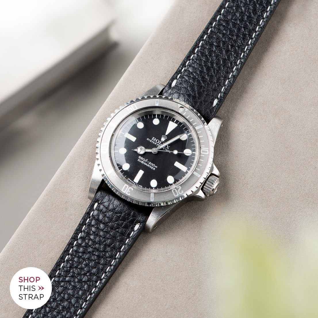 Bulang and Sons_Strap Guide_Rolex Submariner 5513 Faded_RICH BLACK CREME STITCH LEATHER WATCH STRAP
