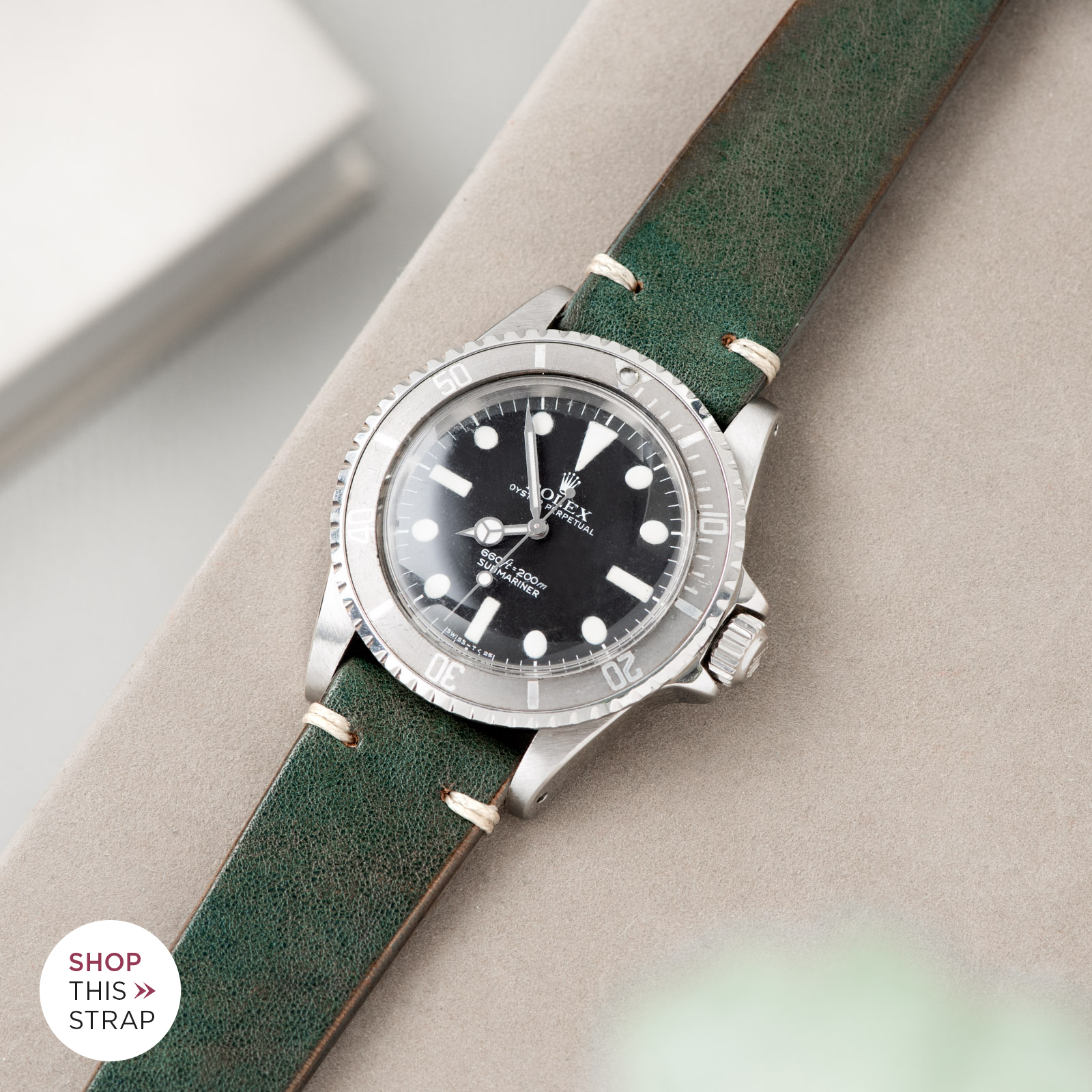 Bulang and Sons_Strap Guide_Rolex Submariner 5513 Faded_Vintage Green Leather Watch Strap