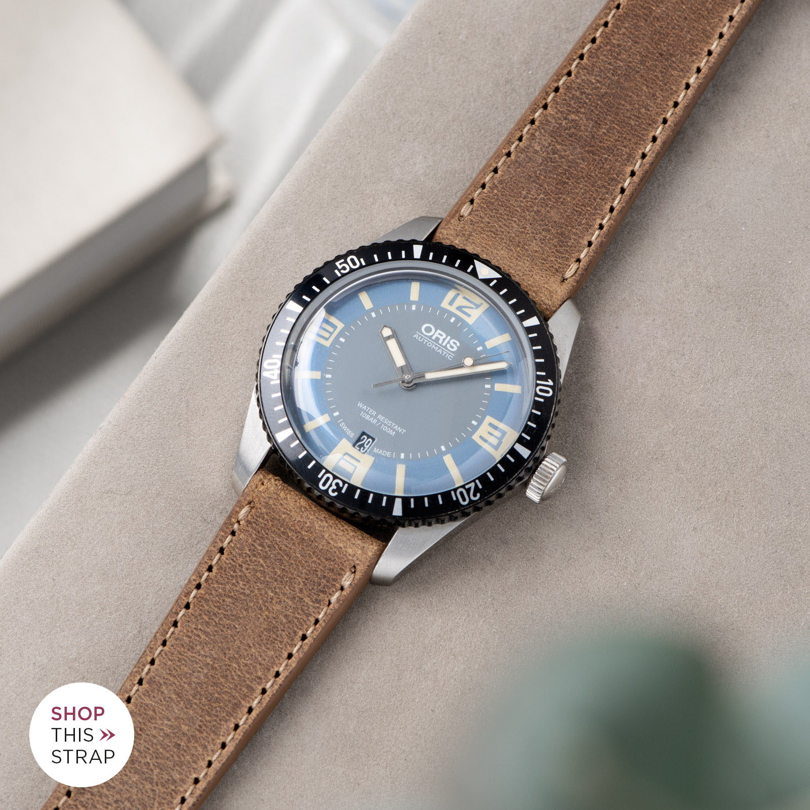 Bulang and Sons_Strap Guide_Oris Automatic Divers Sixty-Five Deaville_CINNAMON BROWN LEATHER WATCH STRAP