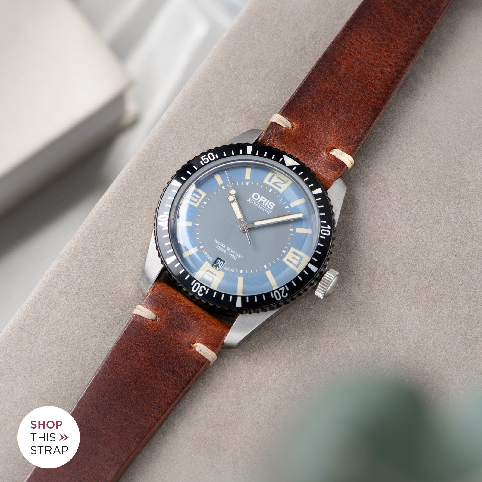 Bulang and Sons_Strap Guide_Oris Automatic Divers Sixty-Five Deaville_SIENA BROWN LEATHER WATCH STRAP