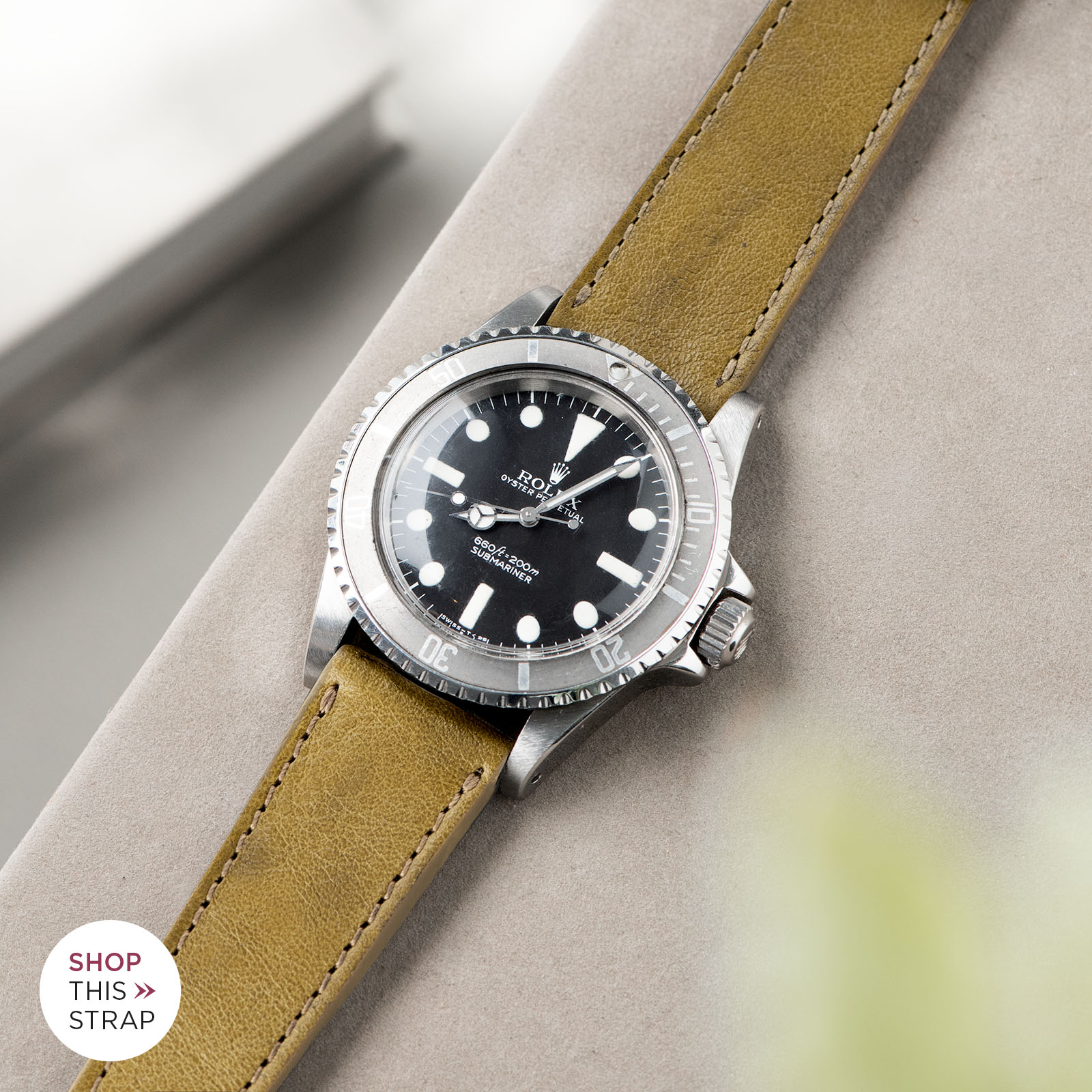 Bulang and Sons_Strap Guide_Rolex Submariner 5513 Faded_Light Olive Leather Watch Strap_B