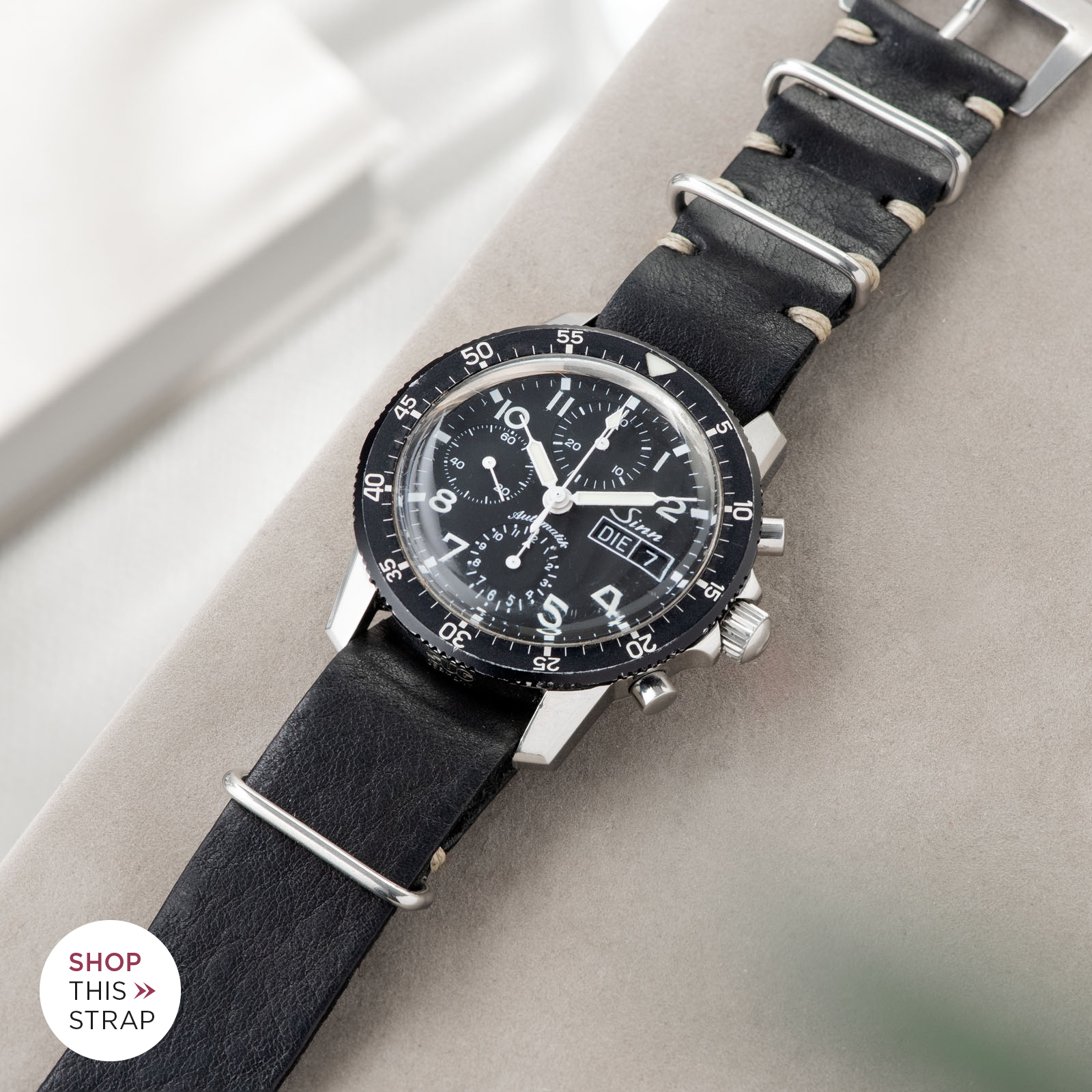Bulang and Sons_Strap Guide_Sinn 103_Black Nato Leather Watch Strap