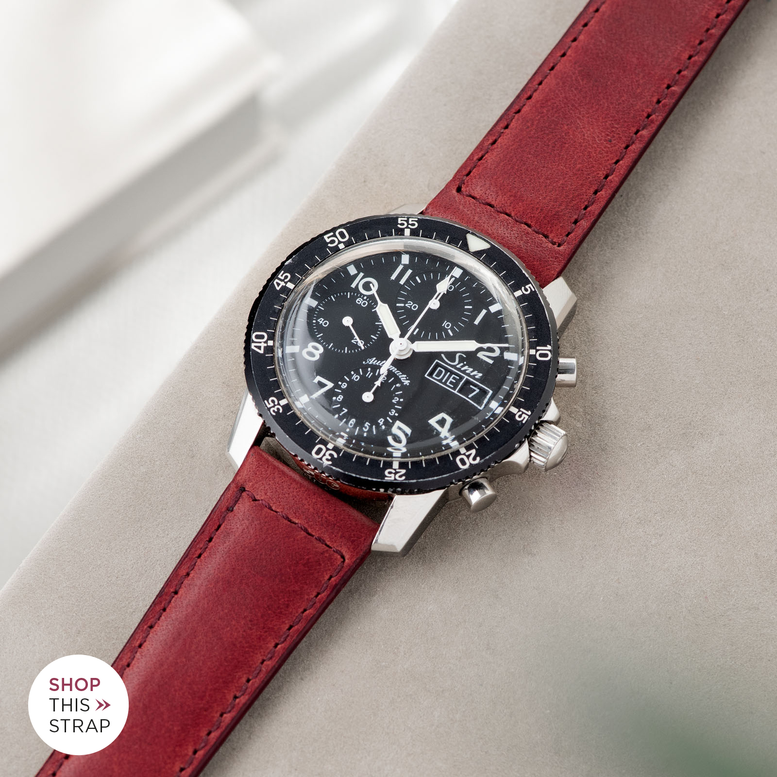 Bulang and Sons_Strap Guide_Sinn 103_Chimney Red Leather Watch Strap