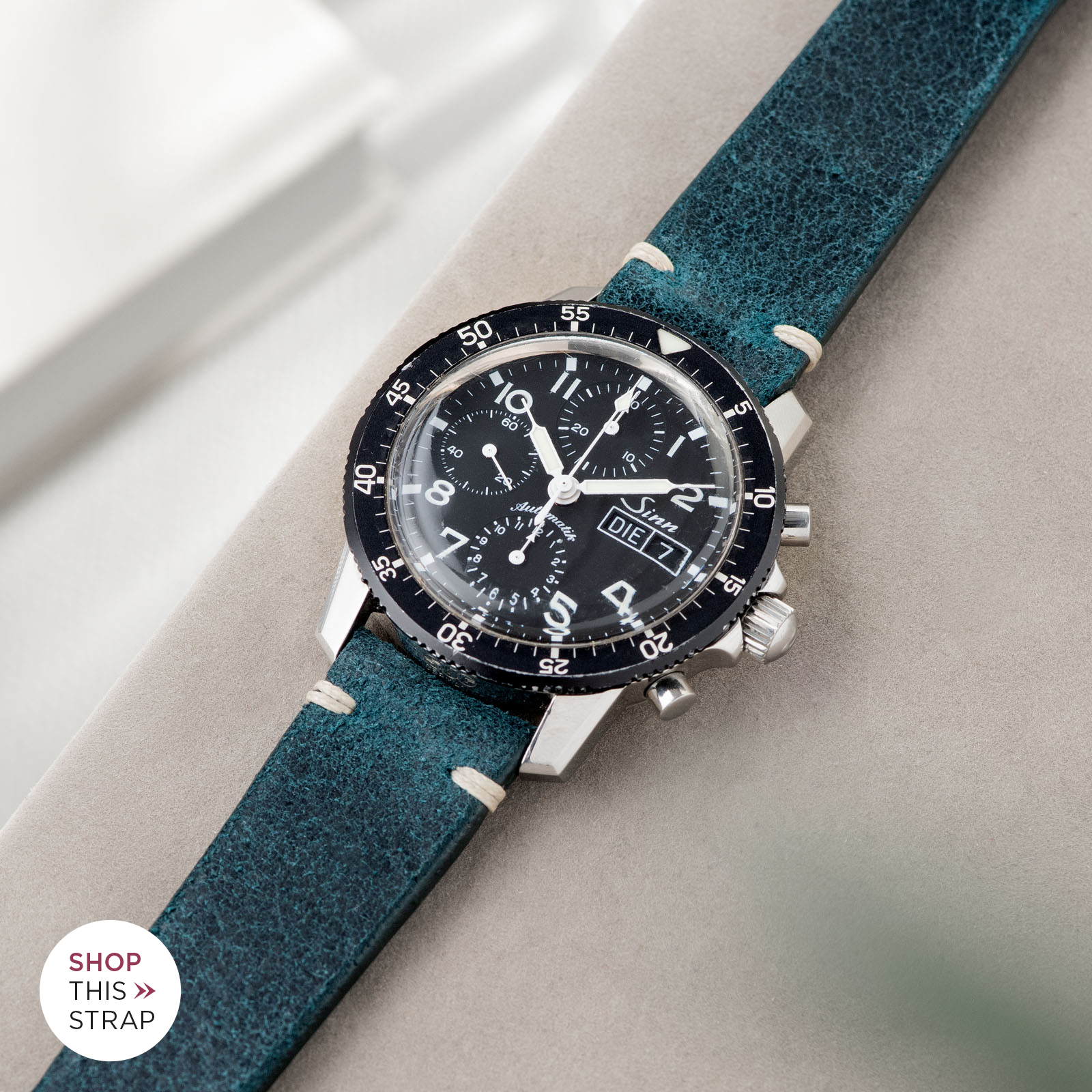 Bulang and Sons_Strap Guide_Sinn 103_Crackle Copper Green Leather Watch Strap