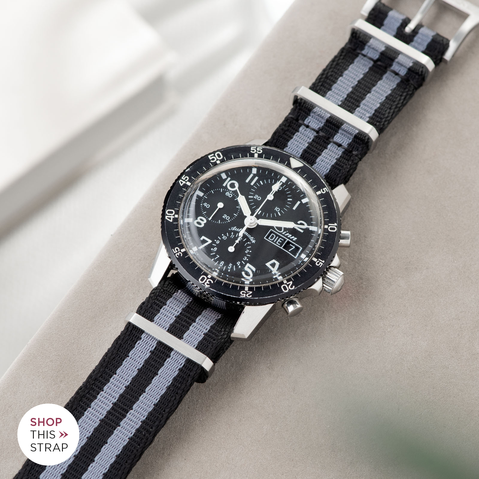 Bulang and Sons_Strap Guide_Sinn 103_Deluxe Nylon Nato Watch Strap Black Two Stripes Grey