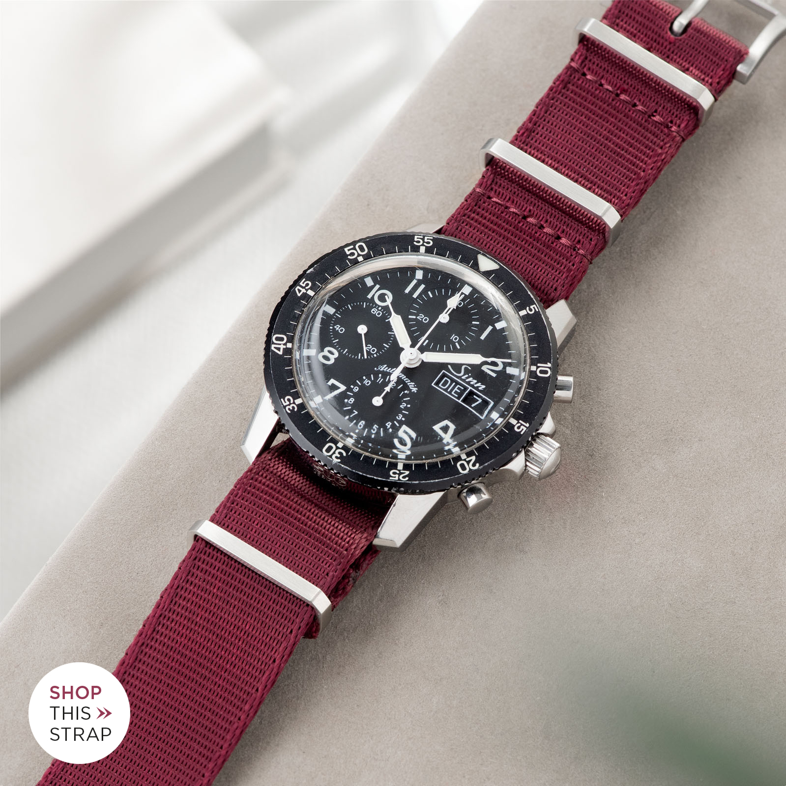 Bulang and Sons_Strap Guide_Sinn 103_Deluxe Nylon Nato Watch Strap Burgundy Red