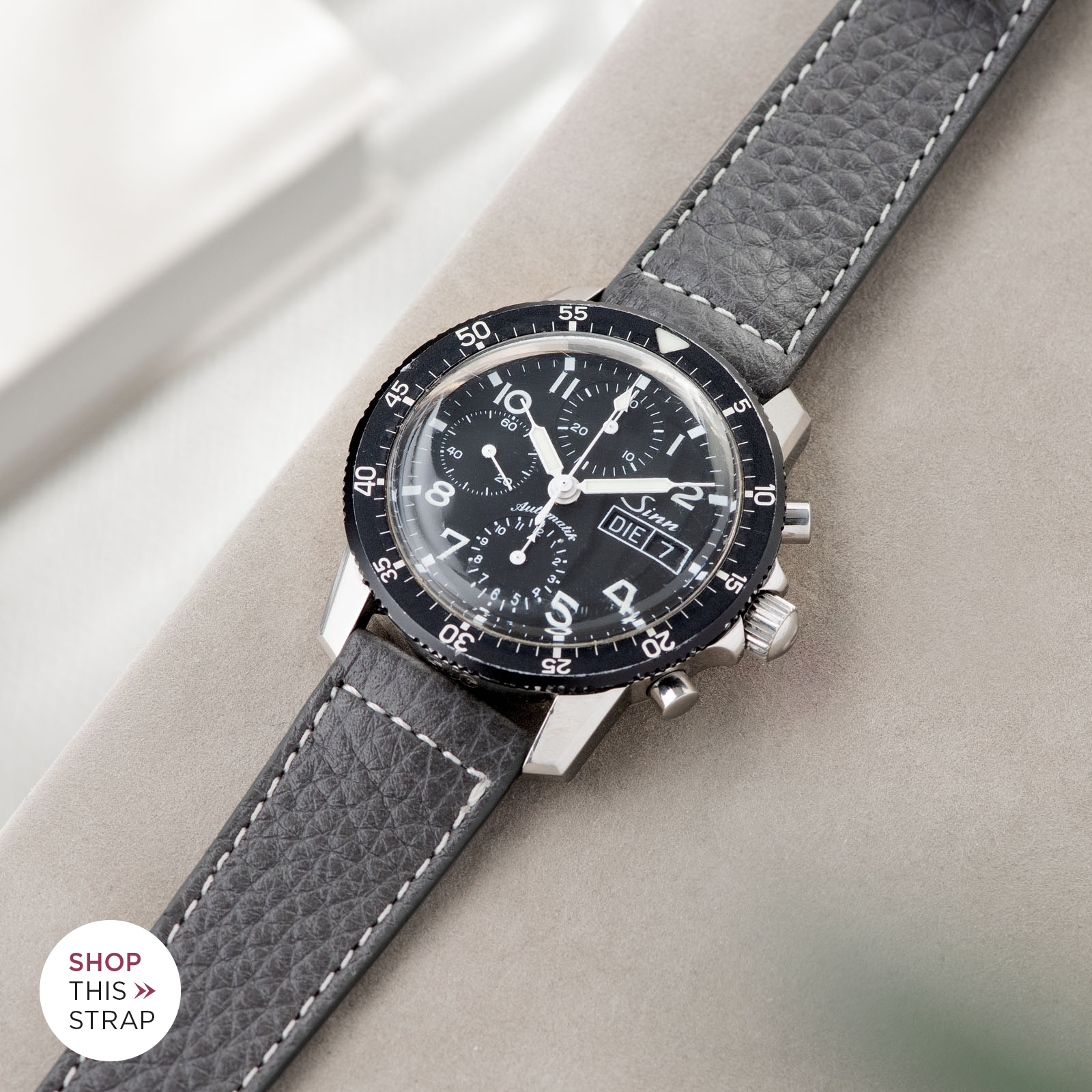 Bulang and Sons_Strap Guide_Sinn 103_Elephant Grey Leather Watch Strap
