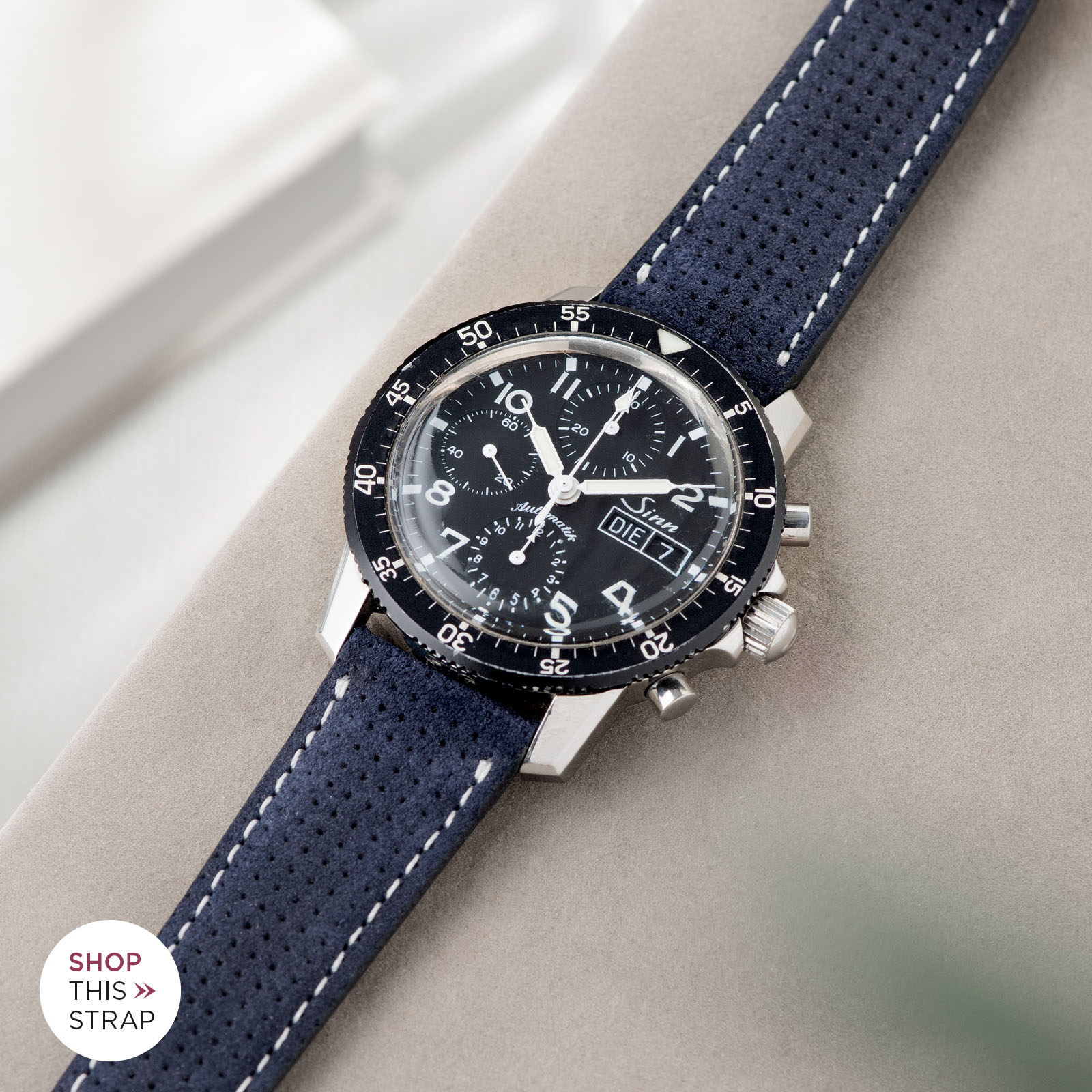Bulang and Sons_Strap Guide_Sinn 103_Punched Blue Silky Suede Watch Strap