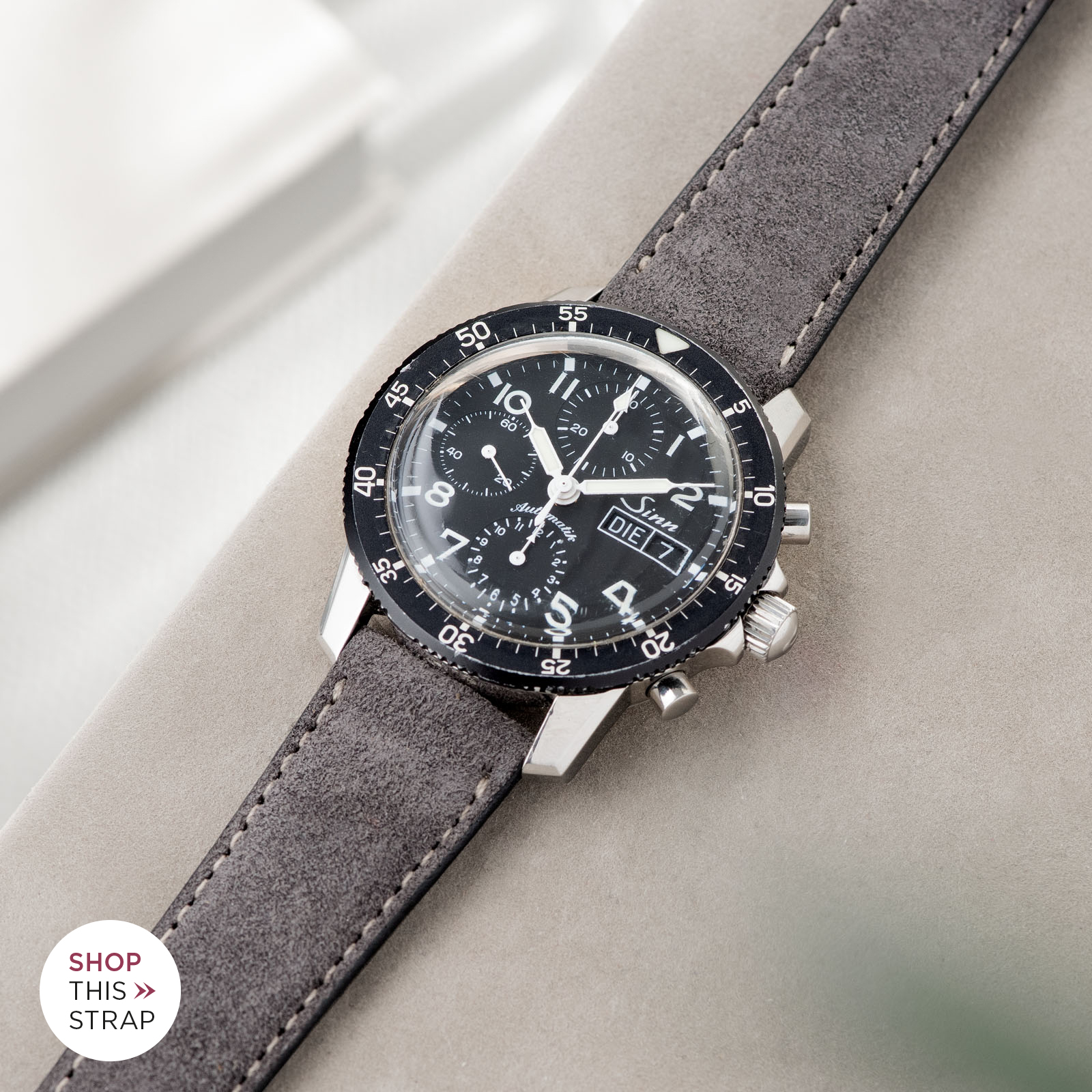 Bulang and Sons_Strap Guide_Sinn 103_Refined Dark Grey Suede Leather Watch Strap