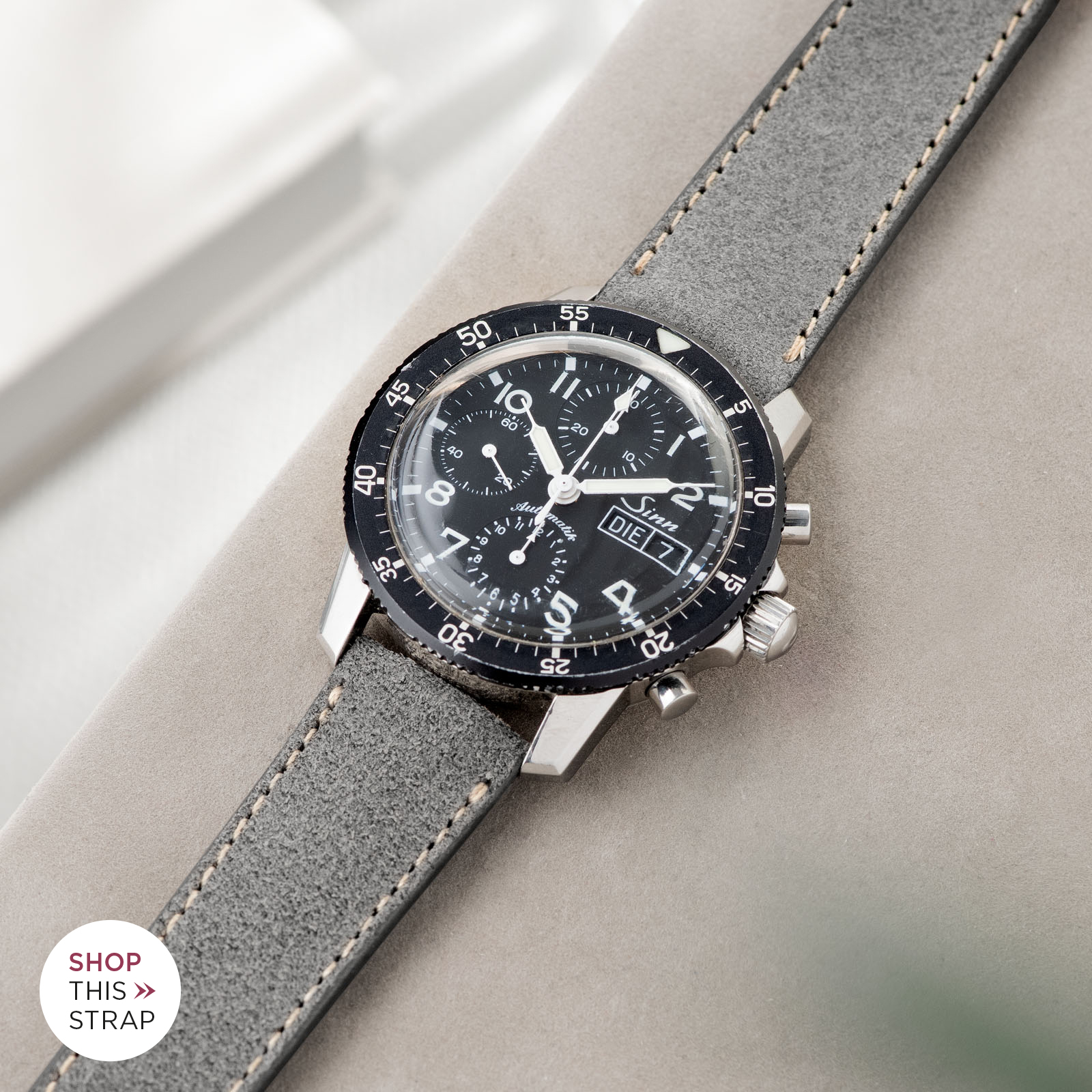 Bulang and Sons_Strap Guide_Sinn 103_Refined Rugged Grey Leather Watch Strap