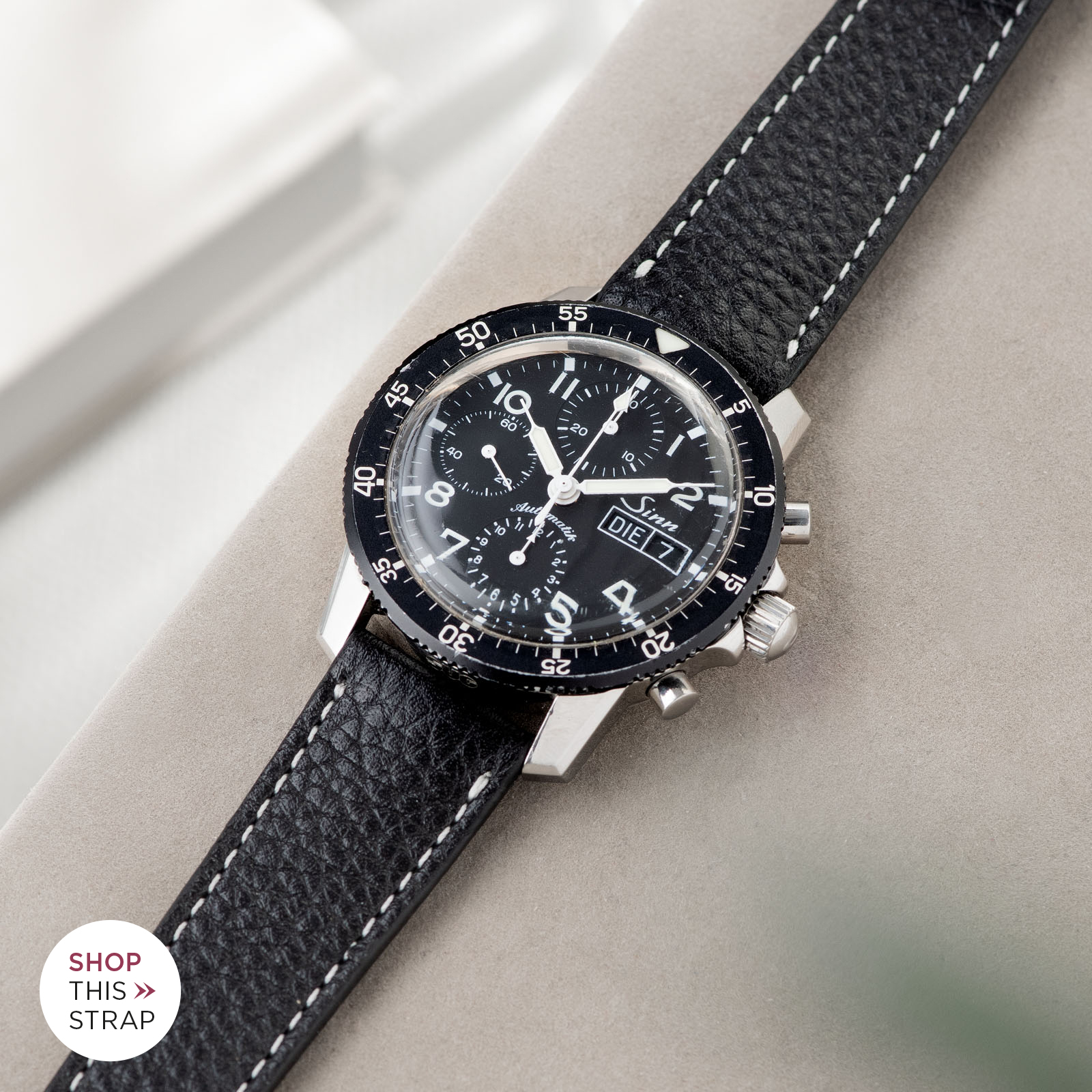 Bulang and Sons_Strap Guide_Sinn 103_Rich Black Cream Stitch Leather Watch Strap