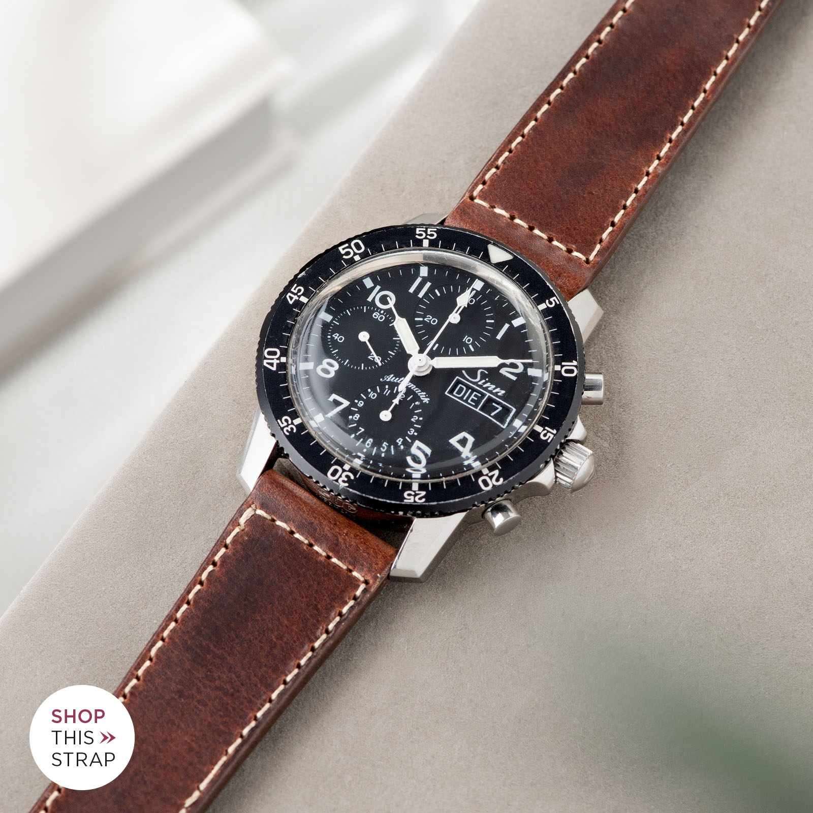 Bulang and Sons_Strap Guide_Sinn 103_Siena Brown Boxed Stitch Leather Watch Strap