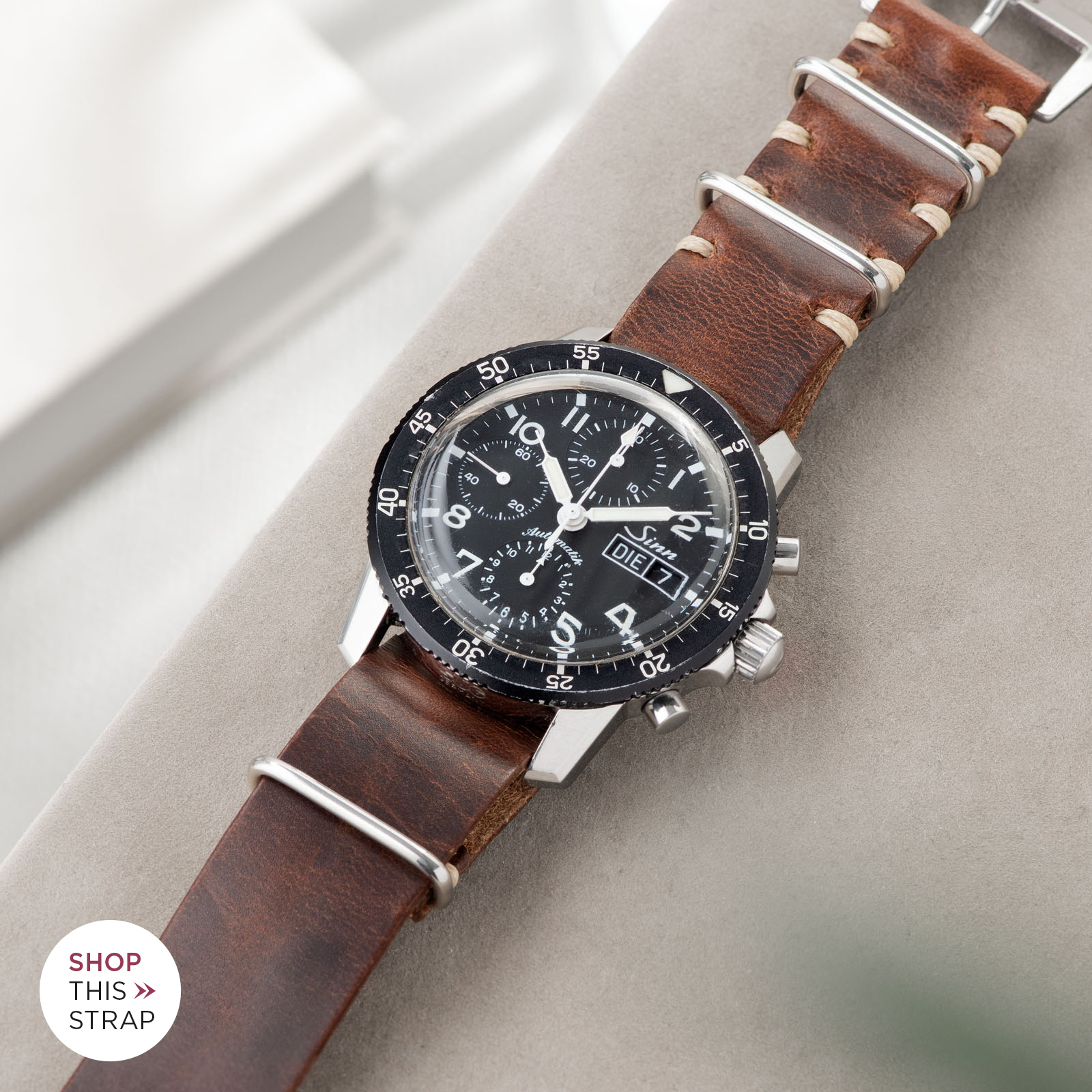 Bulang and Sons_Strap Guide_Sinn 103_Siena Brown Nato Leather Watch Strap