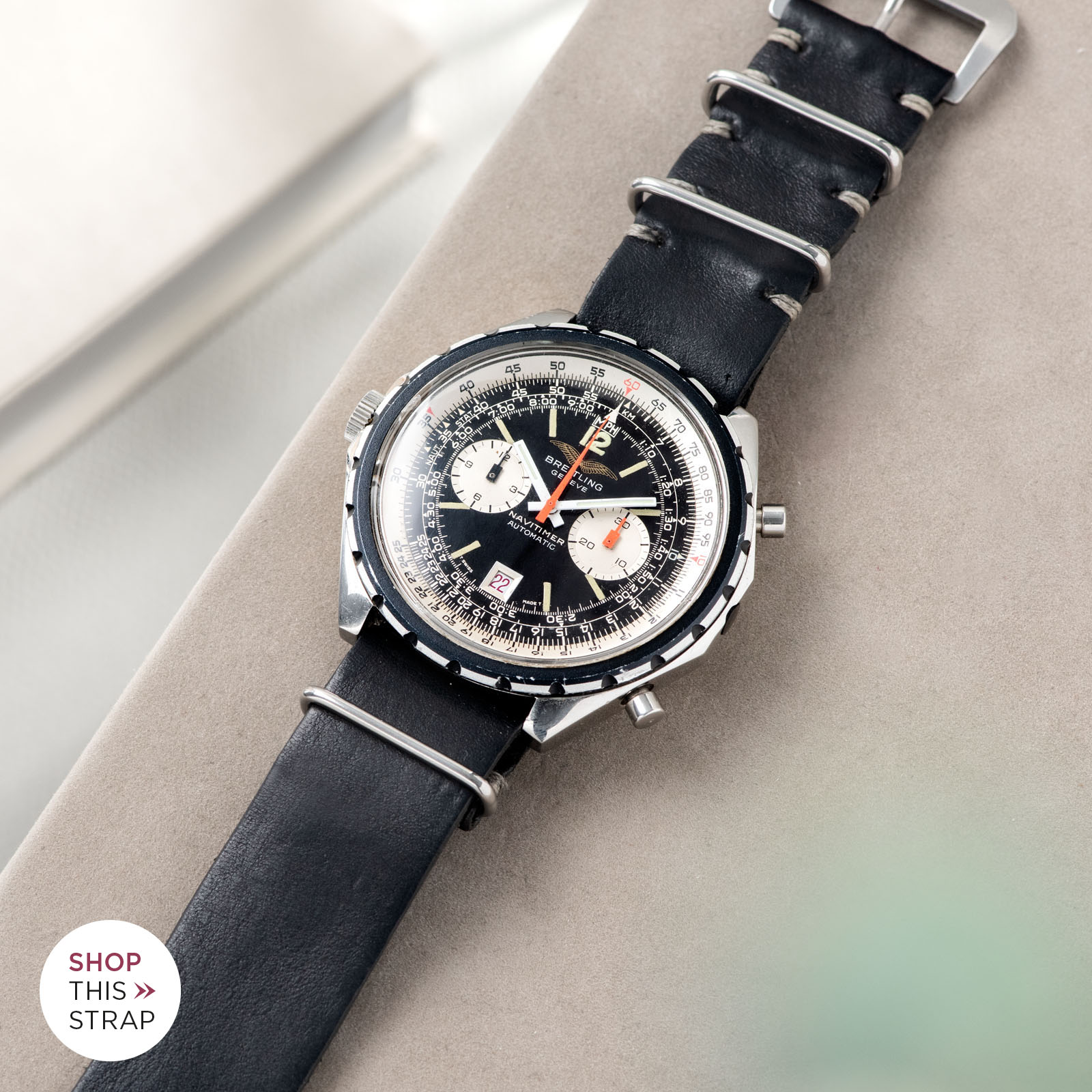 Bulang and Sons_Strapguide_Breitling Navitimer ref issued to iraqi air force ref 1806_Black Nato Leather Watch Strap_001