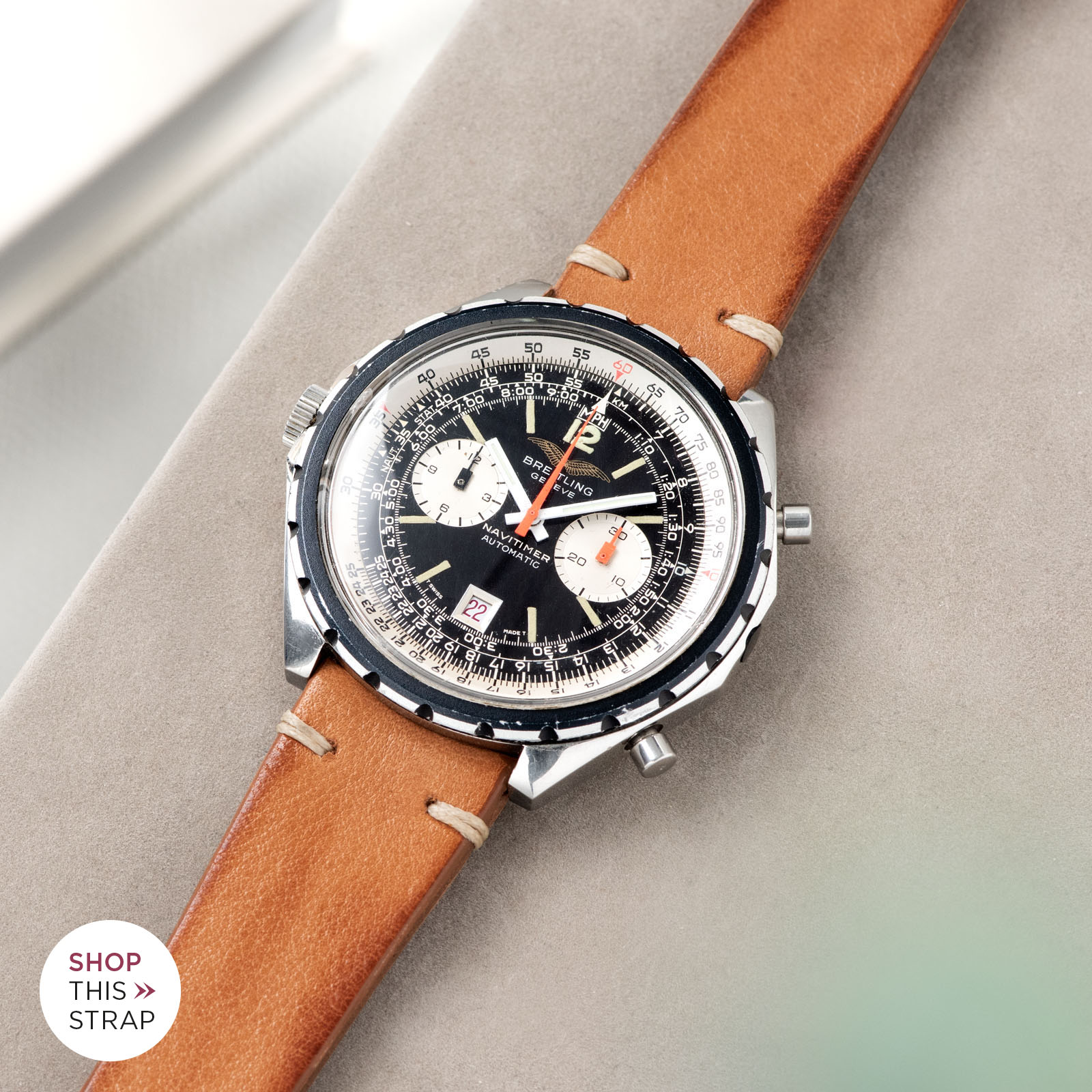 Bulang and Sons_Strapguide_Breitling Navitimer ref issued to iraqi air force ref 1806_Caramel Brown Leather Watch Strap _005