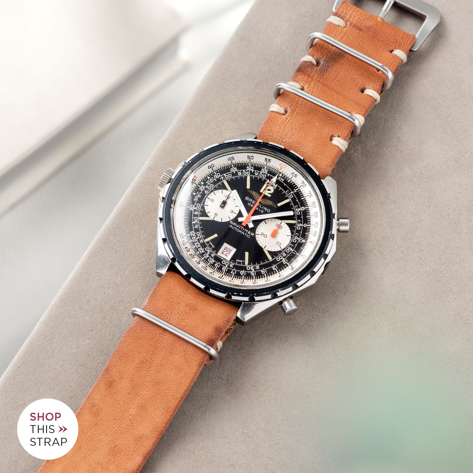 Bulang and Sons_Strapguide_Breitling Navitimer ref issued to iraqi air force ref 1806_Caramel Brown Nato Leather Watch Strap_001