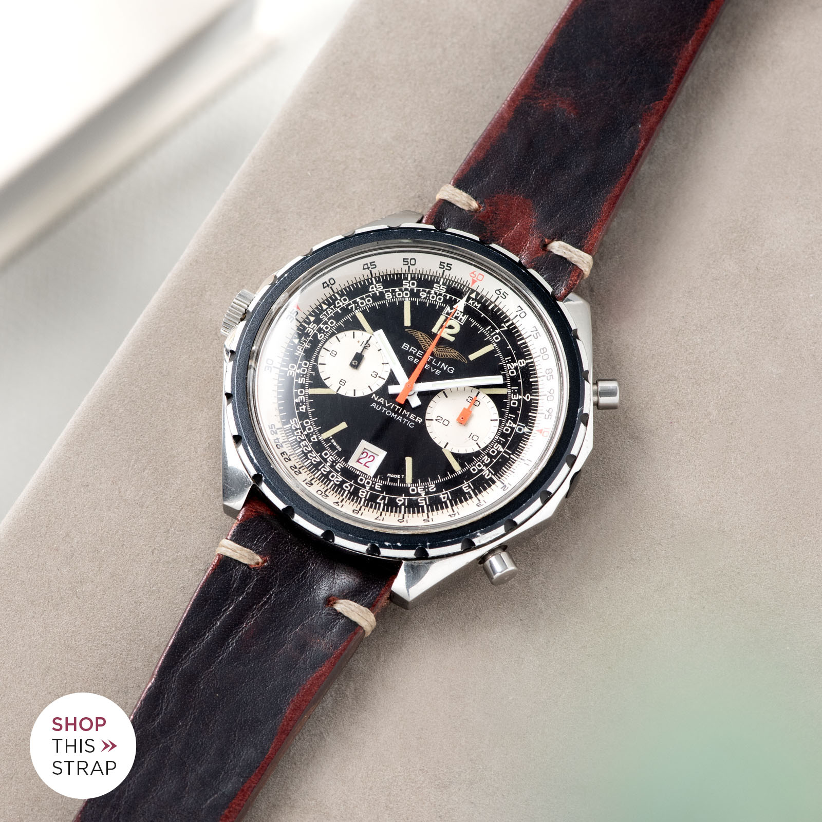 Bulang and Sons_Strapguide_Breitling Navitimer ref issued to iraqi air force ref 1806_Diablo Black Leather Watch Strap _005