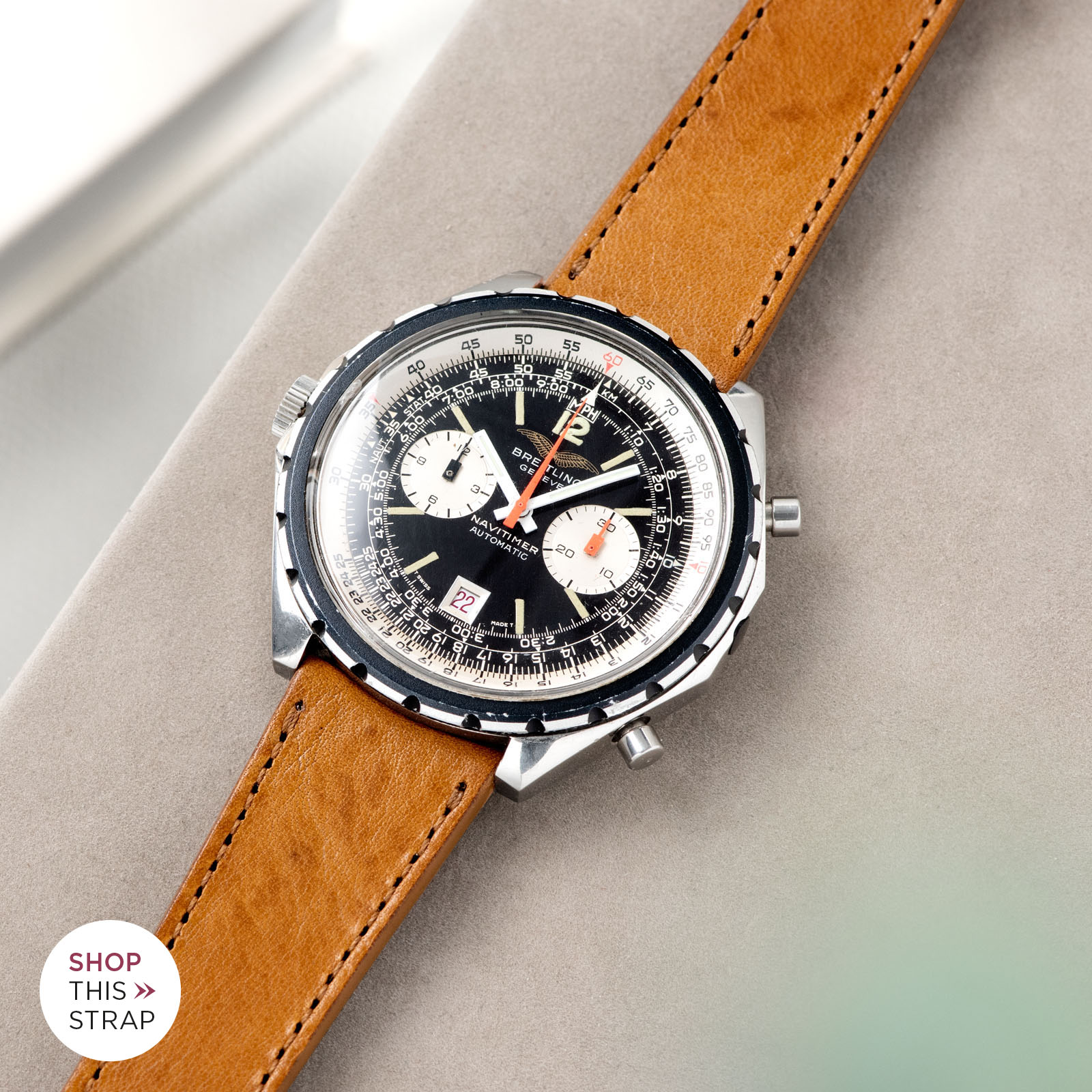 Bulang and Sons_Strapguide_Breitling Navitimer ref issued to iraqi air force ref 1806_Gilt Brown Tonal Leather Watch Strap _005
