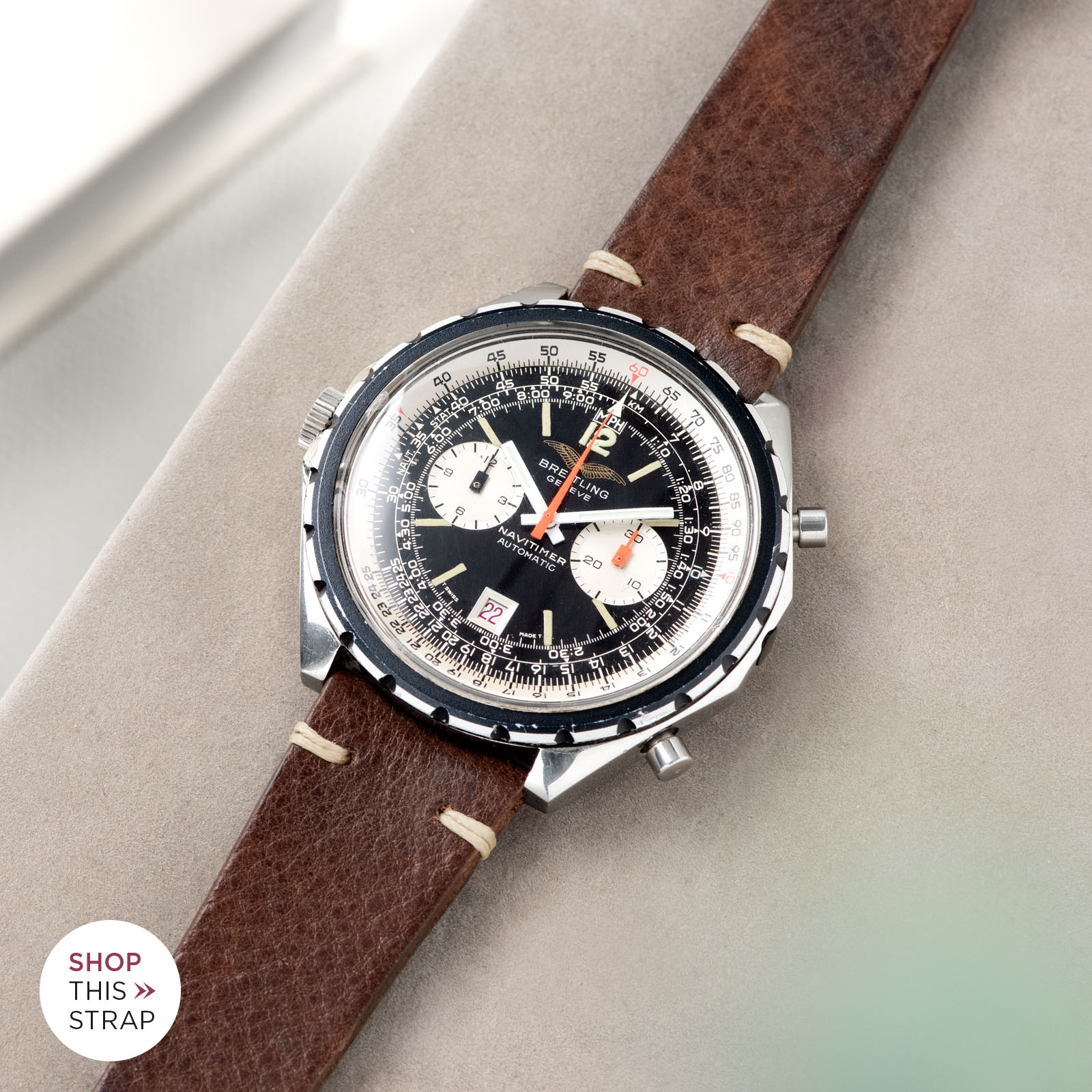 Bulang and Sons_Strapguide_Breitling Navitimer ref issued to iraqi air force ref 1806_Lumberjack Brown Leather Watch Strap _005