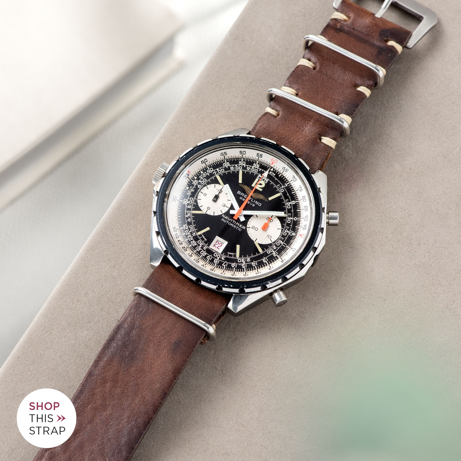 Bulang and Sons_Strapguide_Breitling Navitimer ref issued to iraqi air force ref 1806_Lumberjack Brown Nato Leather Watch Strap_001