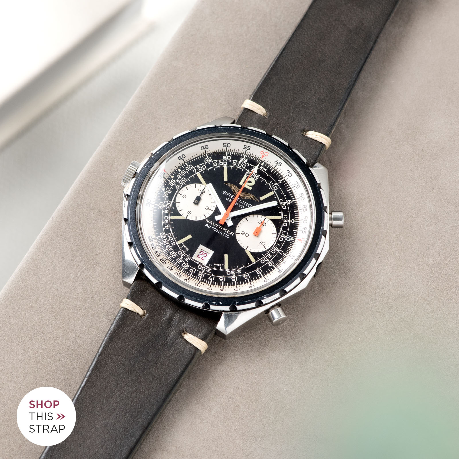 Bulang and Sons_Strapguide_Breitling Navitimer ref issued to iraqi air force ref 1806_Piombo Grey Leather Watch Strap _005