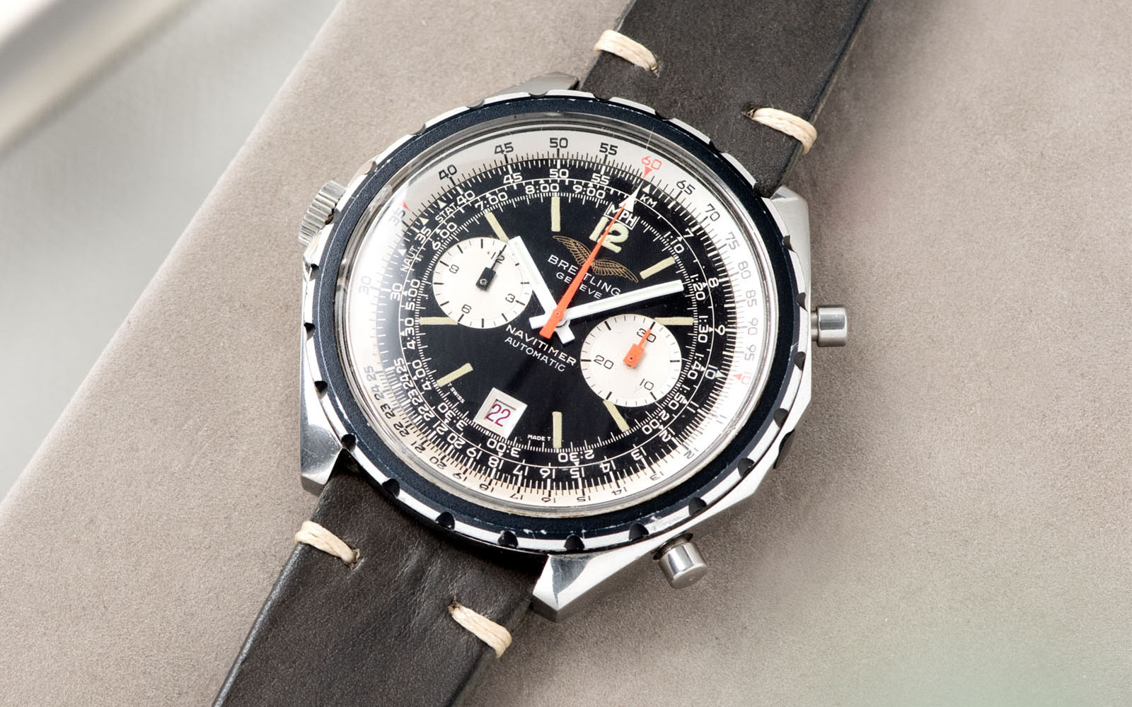 Bulang and Sons_Strapguide_Breitling Navitimer ref issued to iraqi air force ref 1806_Piombo Grey Leather Watch Strap _Banner