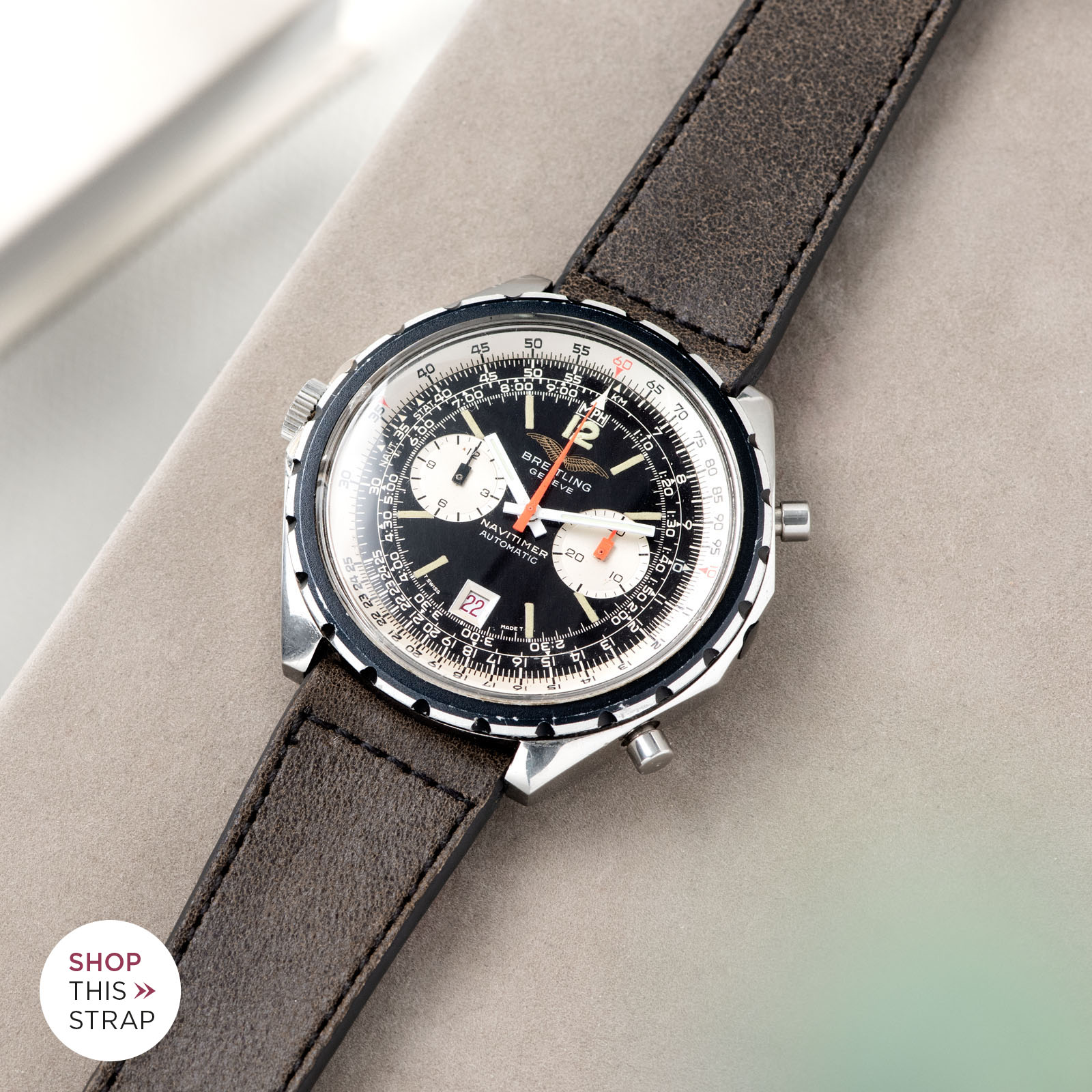 Bulang and Sons_Strapguide_Breitling Navitimer ref issued to iraqi air force ref 1806_Ravello Brown Leather Watch Strap _005