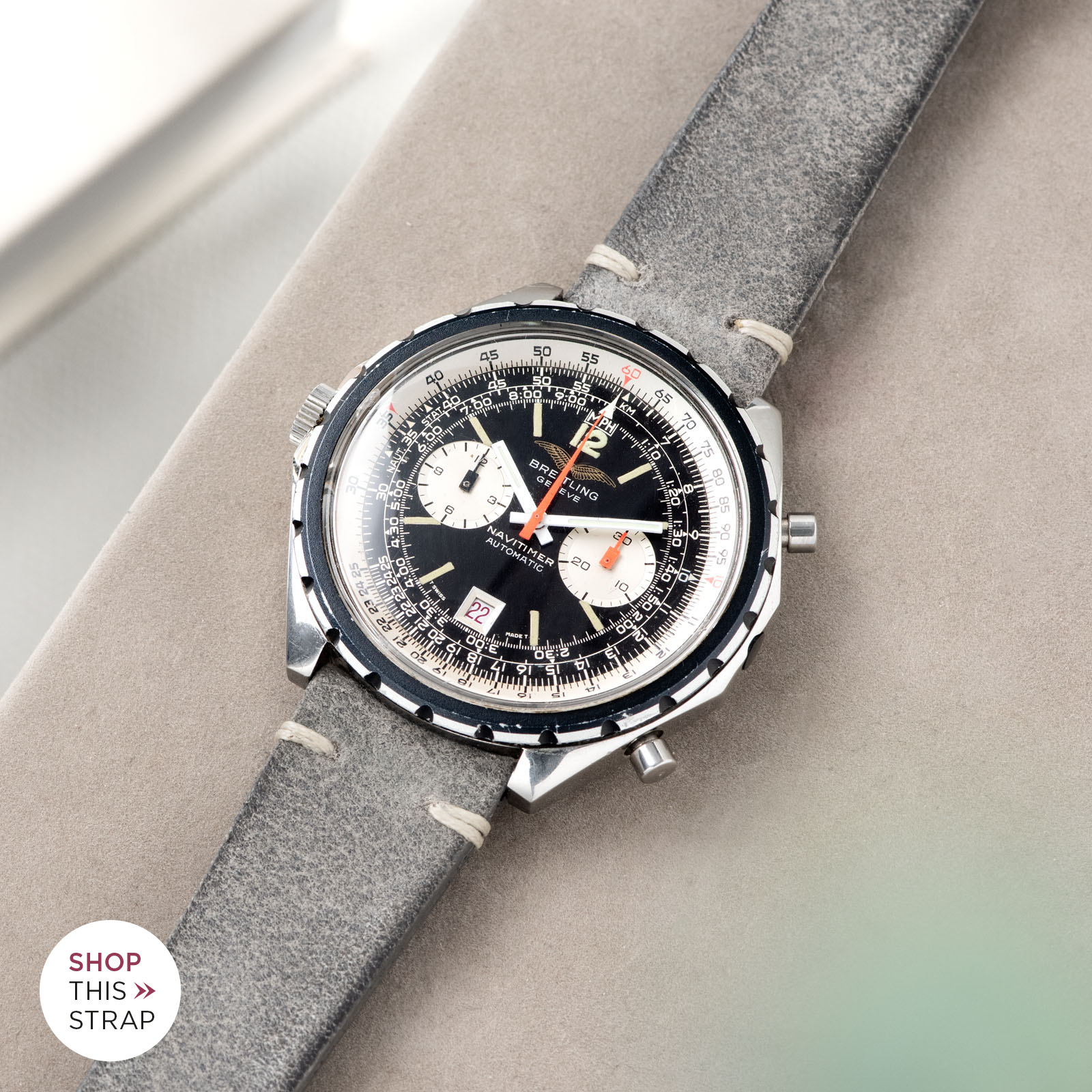 Bulang and Sons_Strapguide_Breitling Navitimer ref issued to iraqi air force ref 1806_Rugged Grey Leather Watch Strap _005