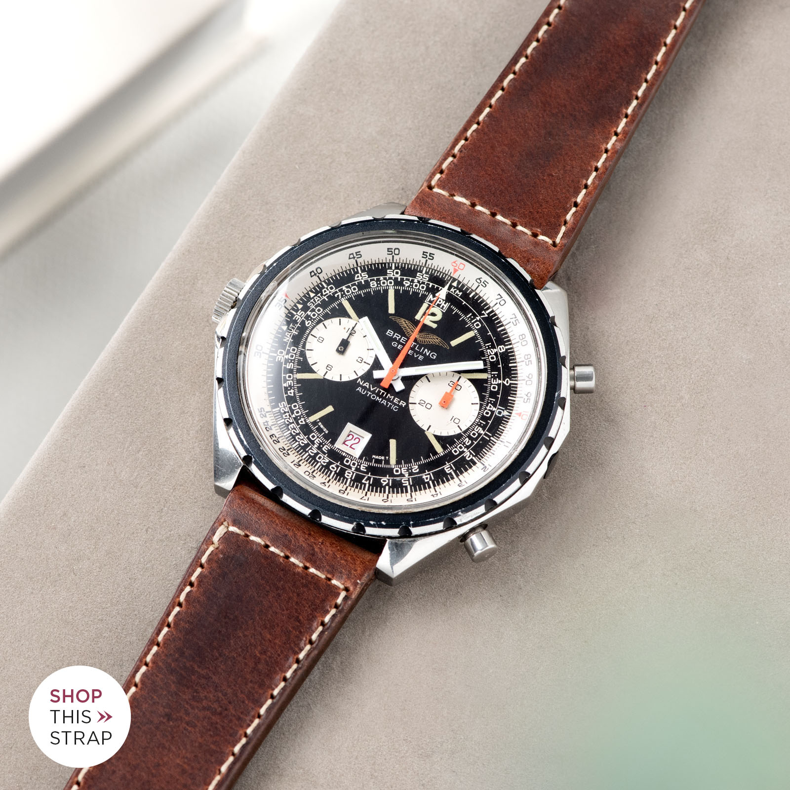 Bulang and Sons_Strapguide_Breitling Navitimer ref issued to iraqi air force ref 1806_Siena Brown Boxed Leather Watch Strap _005