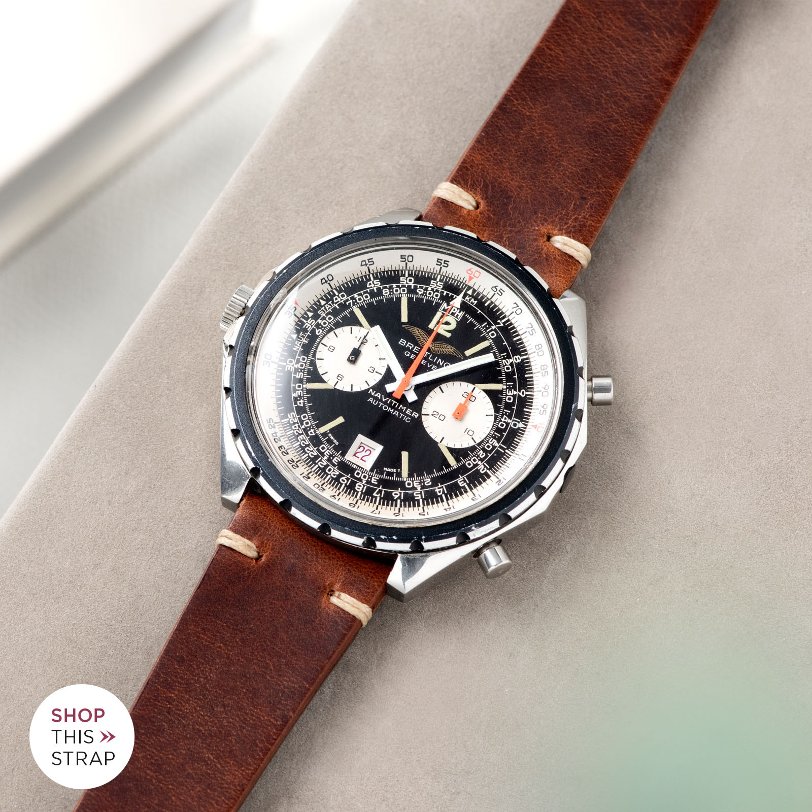 Bulang and Sons_Strapguide_Breitling Navitimer ref issued to iraqi air force ref 1806_Siena Brown Leather Watch Strap _005