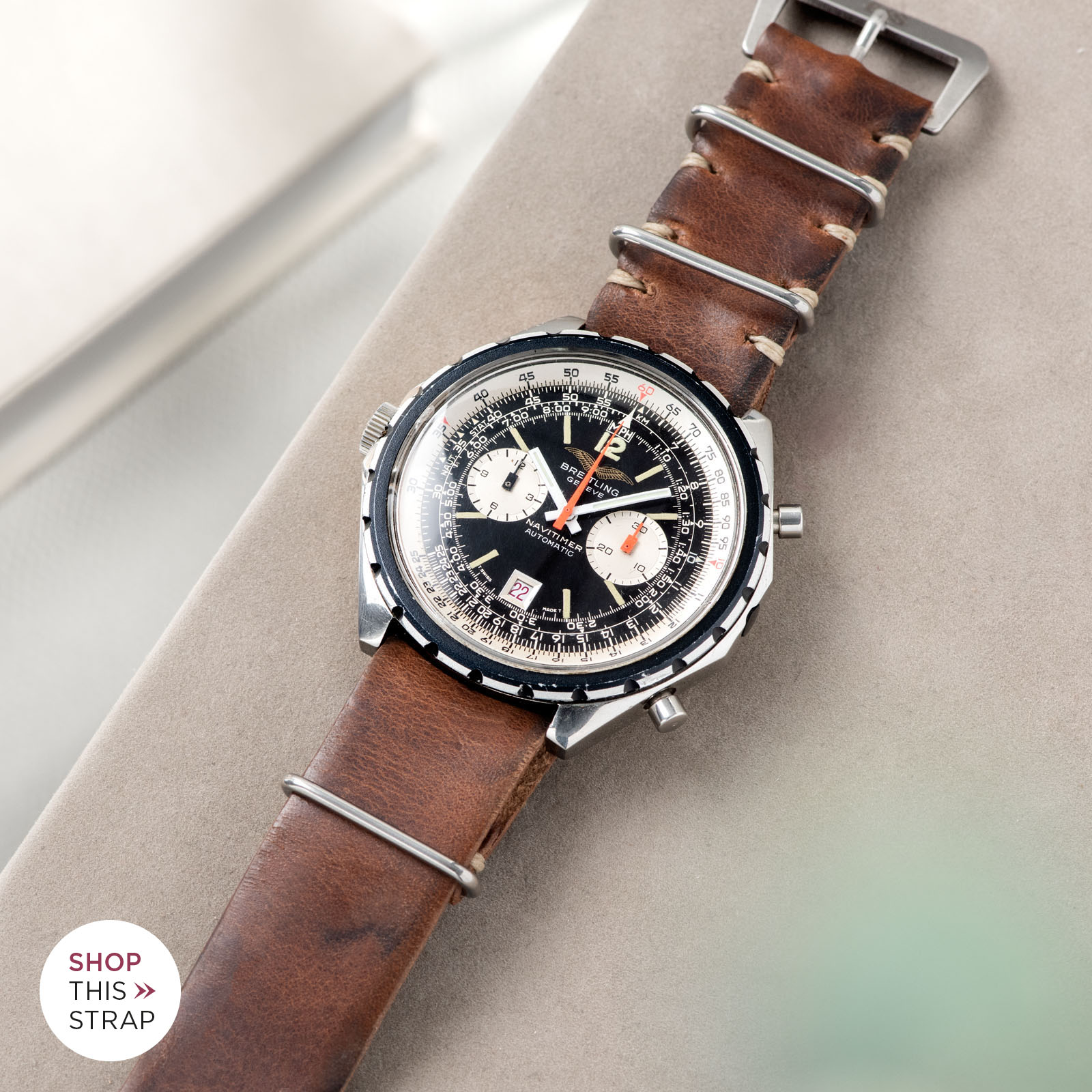Bulang and Sons_Strapguide_Breitling Navitimer ref issued to iraqi air force ref 1806_Siena Brown Nato Leather Watch Strap_001