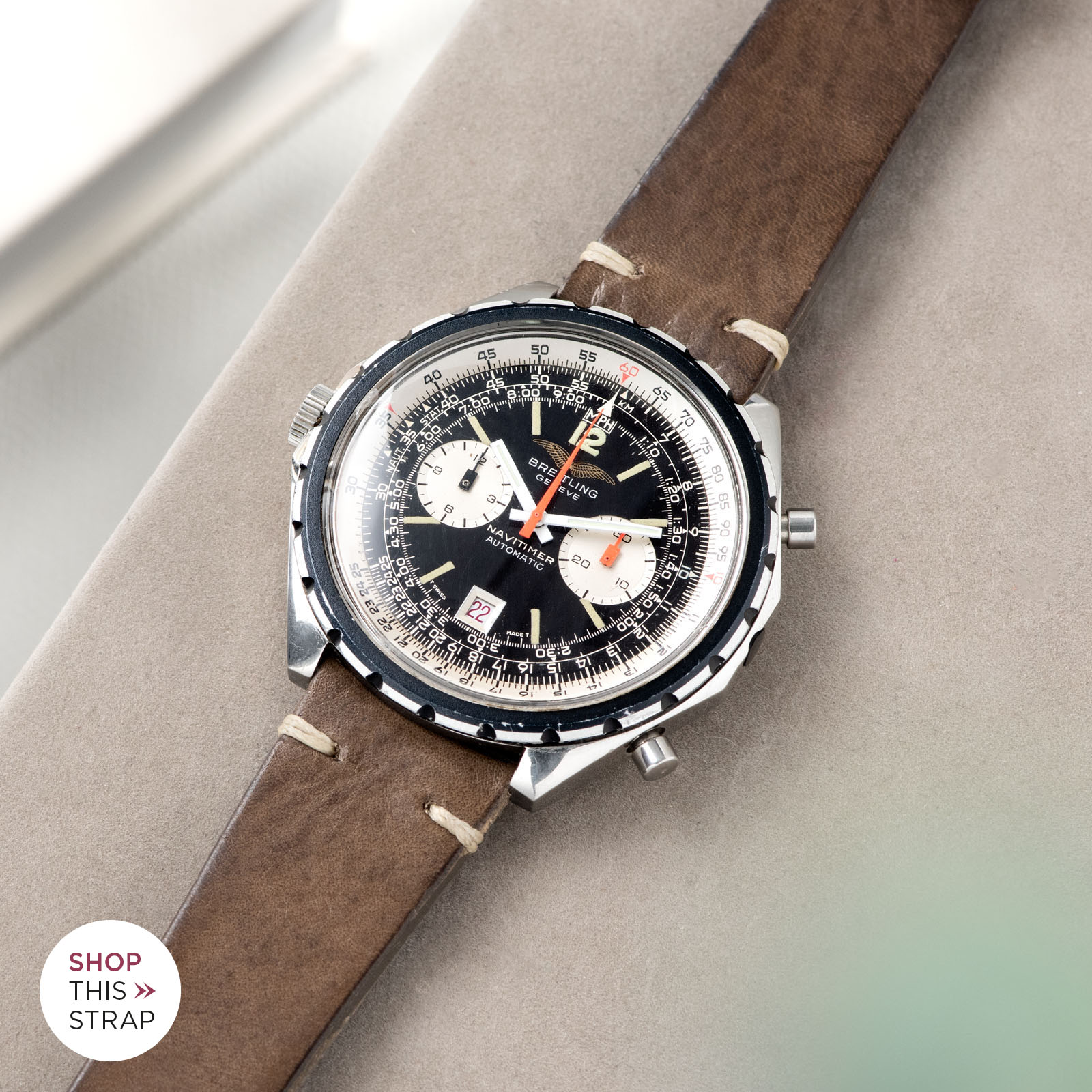 Bulang and Sons_Strapguide_Breitling Navitimer ref issued to iraqi air force ref 1806_Smokeyjack Grey Leather Watch Strap _005