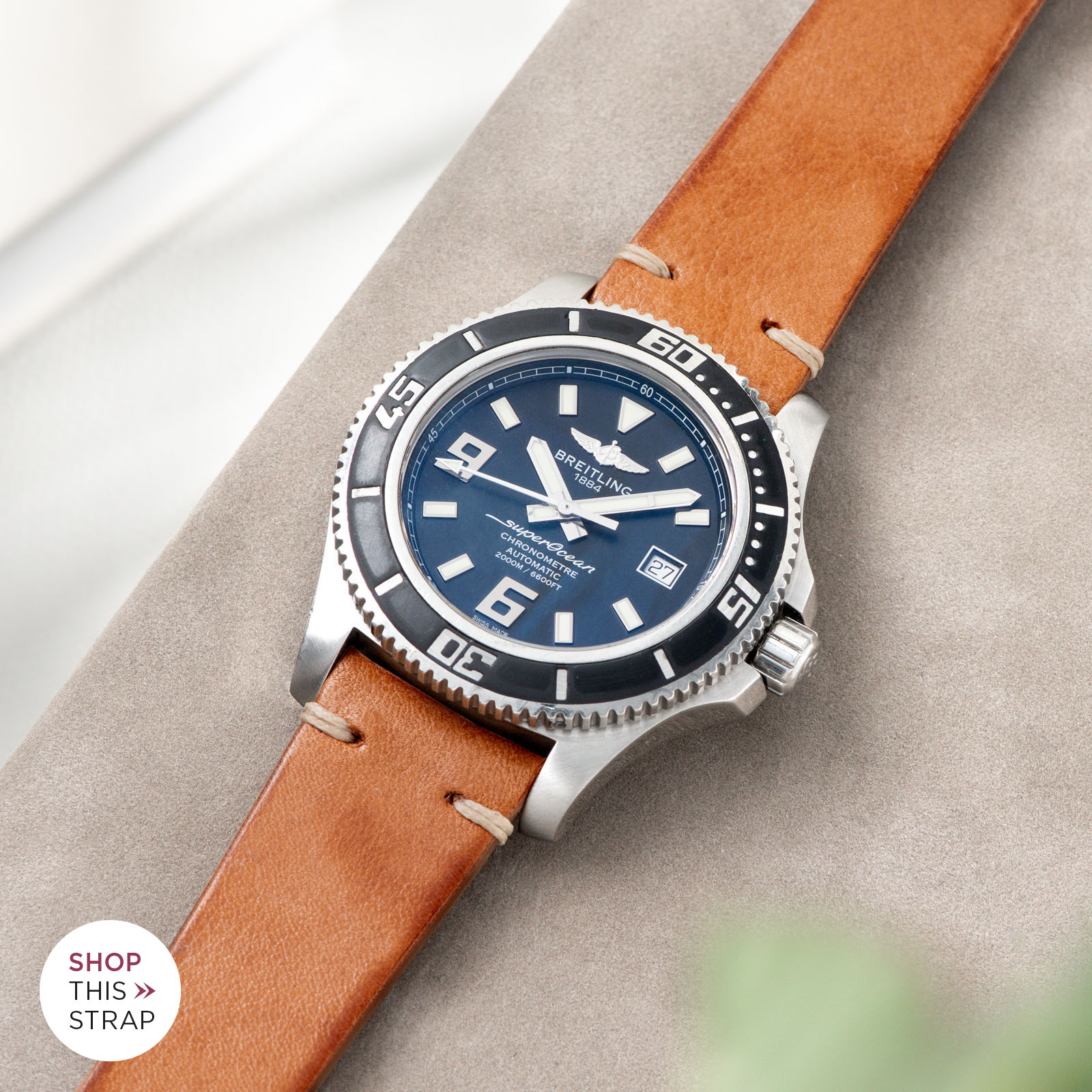 Bulang and Sons_Strap Guide_Breitling Superocean_Caramel Brown Leather Watch Strap