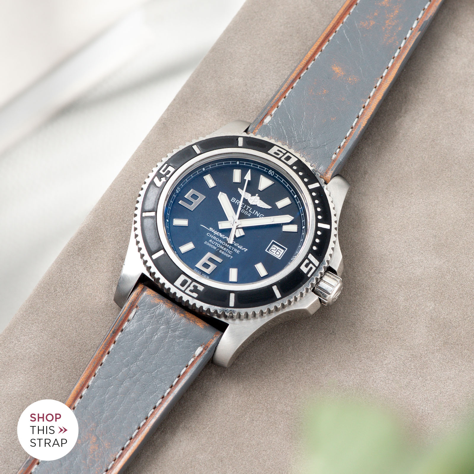 Bulang and Sons_Strap Guide_Breitling Superocean_Denim Blue Retro Leather Watch Strap