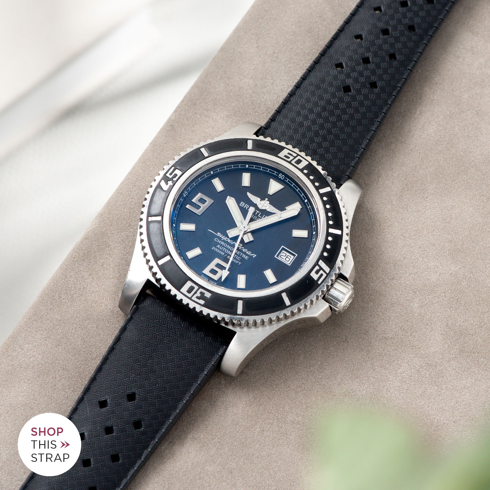 Bulang and Sons_Strap Guide_Breitling Superocean_Nautic Basket Weave Black Rubber Watch Strap