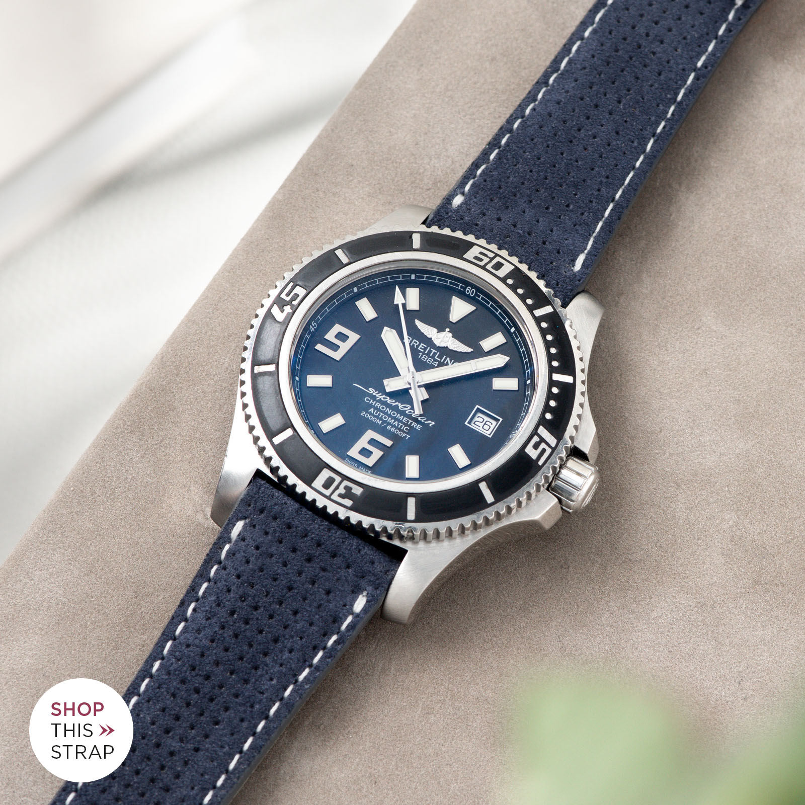 Bulang and Sons_Strap Guide_Breitling Superocean_Punched Blue Silky Suede Leather Watch Strap