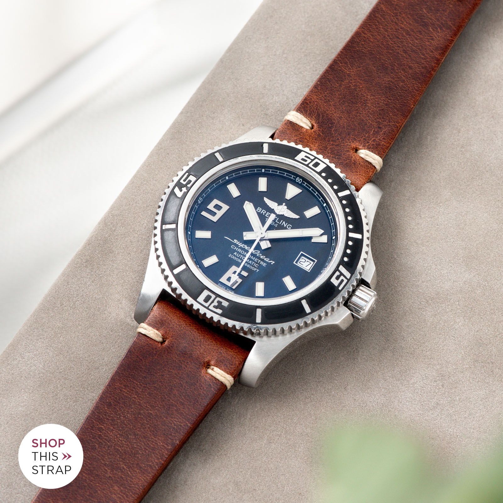 Bulang and Sons_Strap Guide_Breitling Superocean_Siena Brown Leather Watch Strap