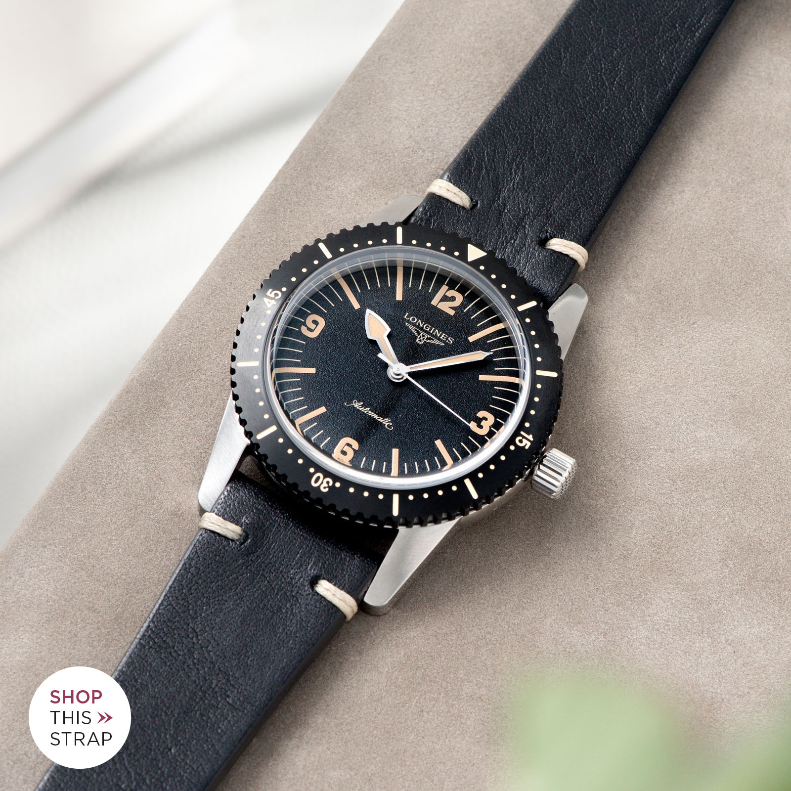 Bulang and Sons_Strap Guide_Longines Skin Diver_Black Leather Watch Strap