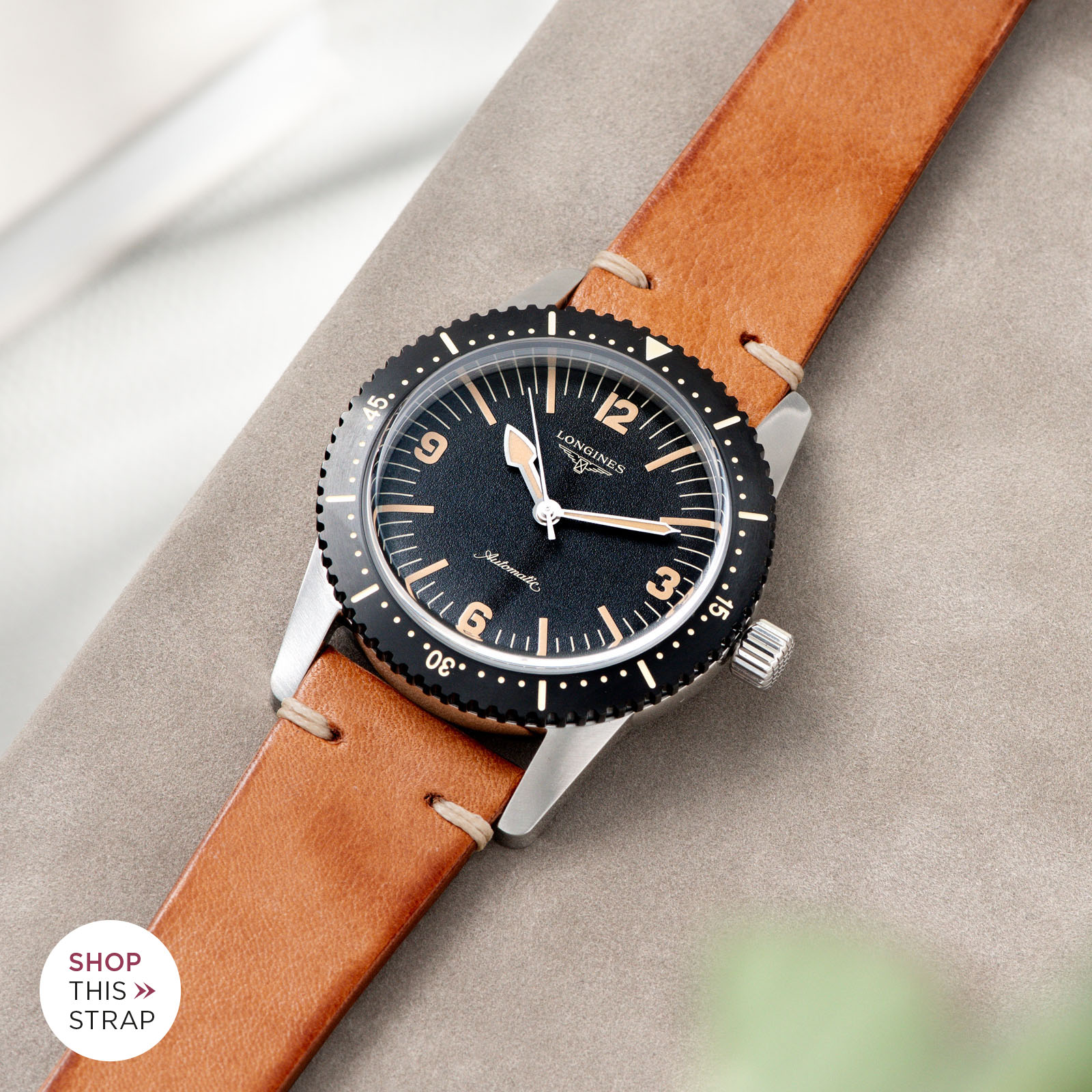Bulang and Sons_Strap Guide_Longines Skin Diver_Caramel Brown Leather Watch Strap