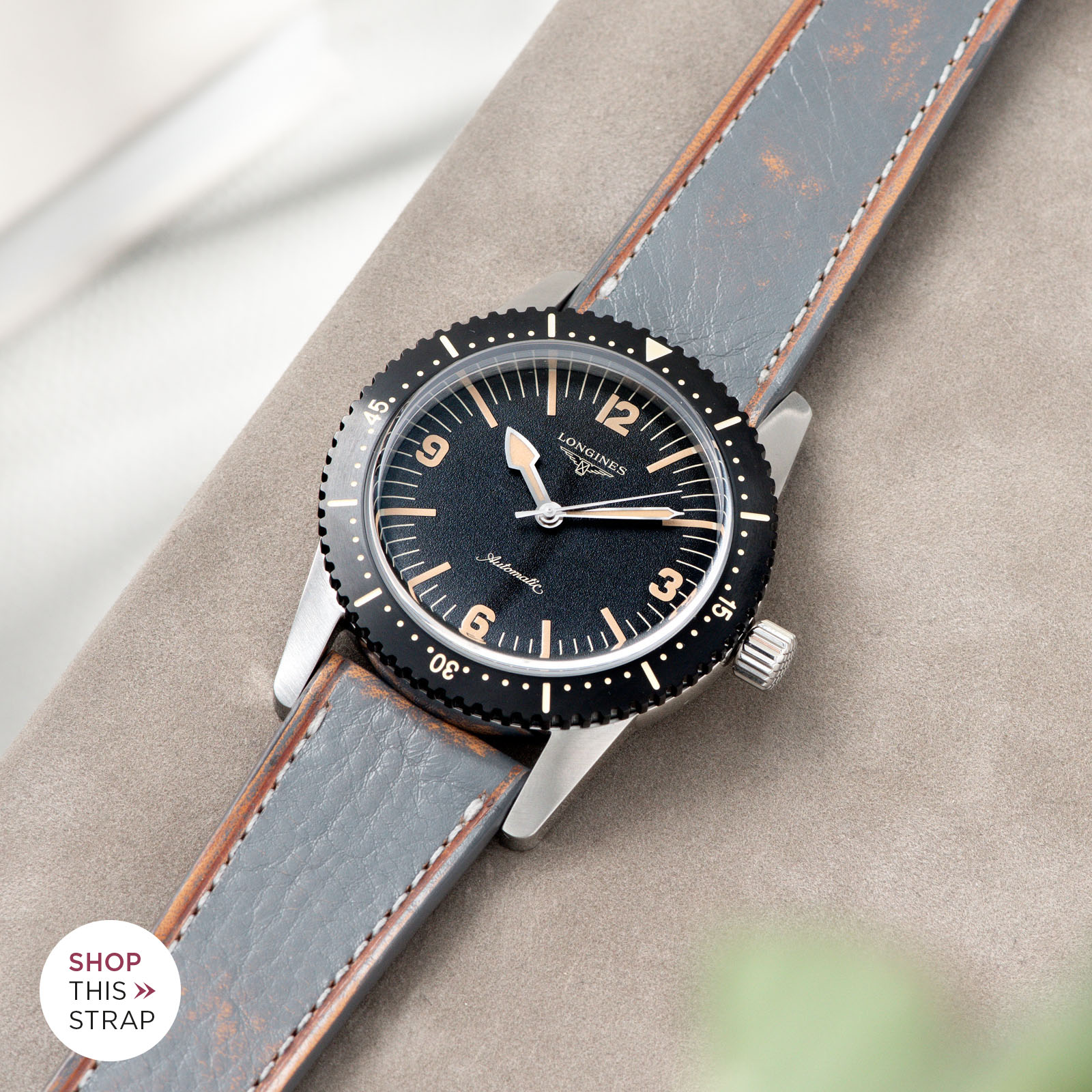 Bulang and Sons_Strap Guide_Longines Skin Diver_Denim Blue Retro Leather Watch Strap