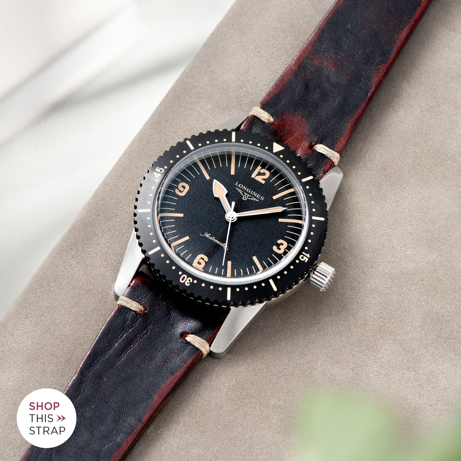 Bulang and Sons_Strap Guide_Longines Skin Diver_Diablo Black Leather Watch Strap