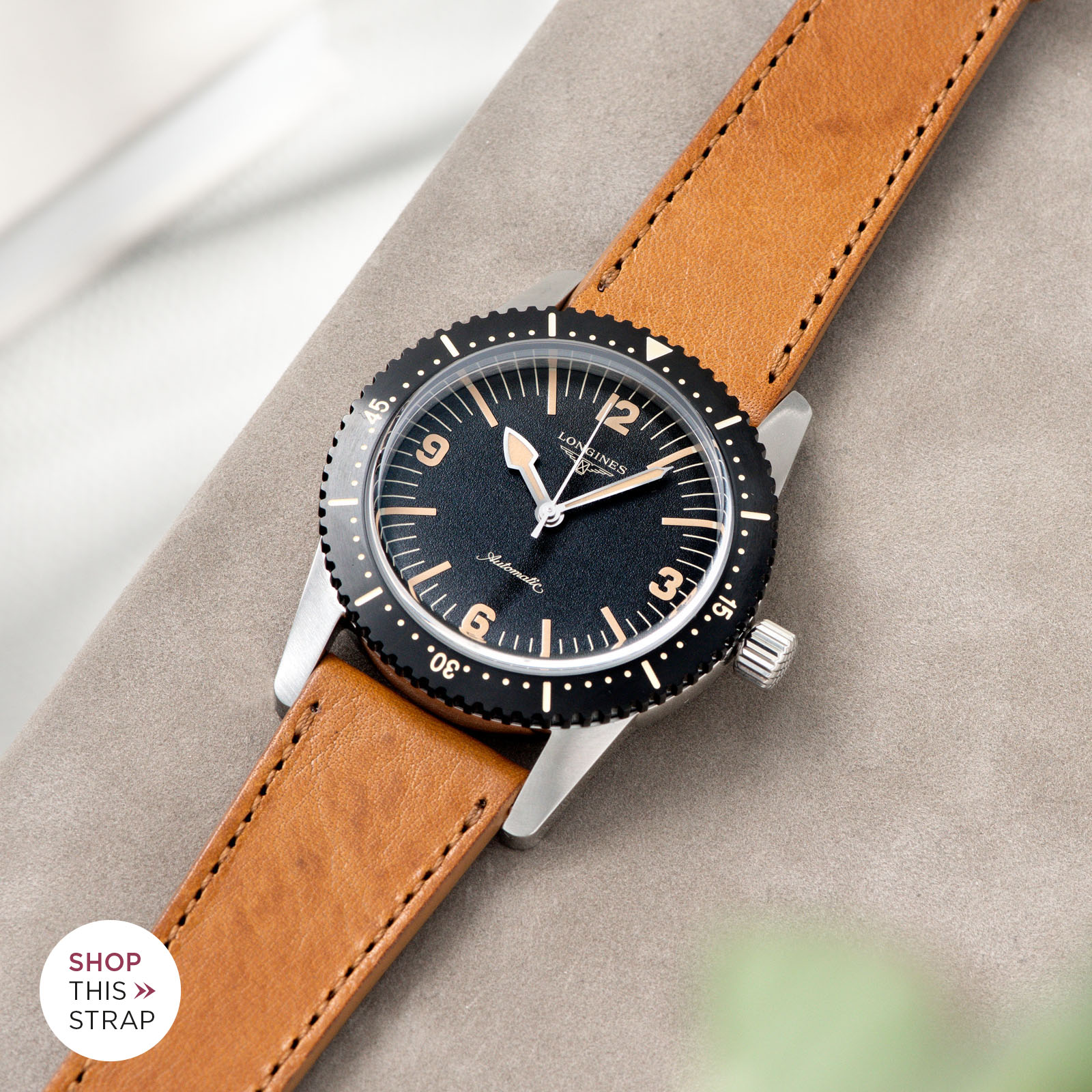 Bulang and Sons_Strap Guide_Longines Skin Diver_Gilt Brown tonal Leather Watch Strap