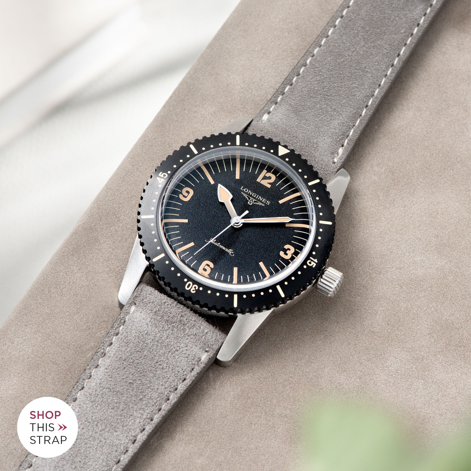 Bulang and Sons_Strap Guide_Longines Skin Diver_Harbor Grey Silky Suede Leather Watch Strap