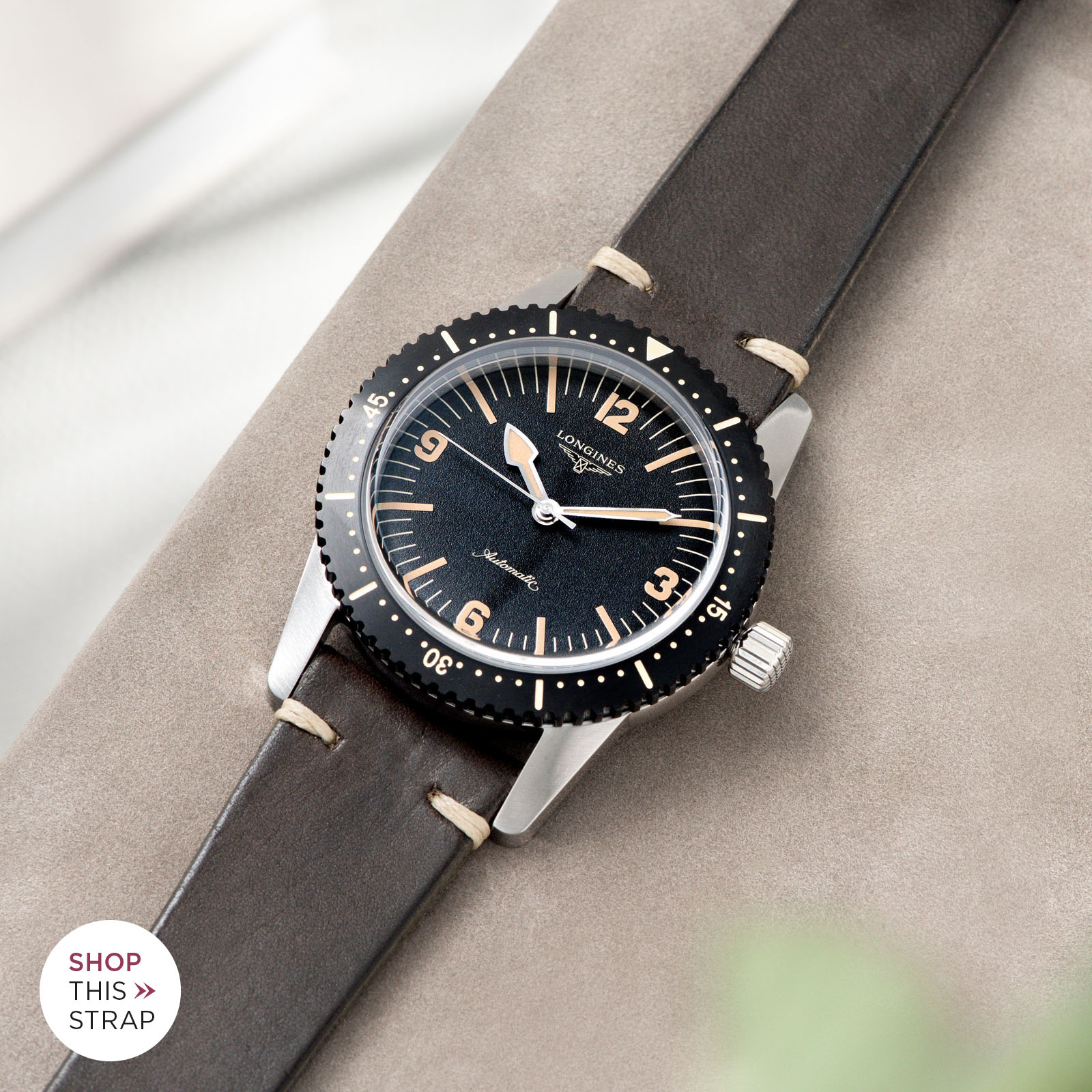 Bulang and Sons_Strap Guide_Longines Skin Diver_Pionbo Grey Leather Watch Strap