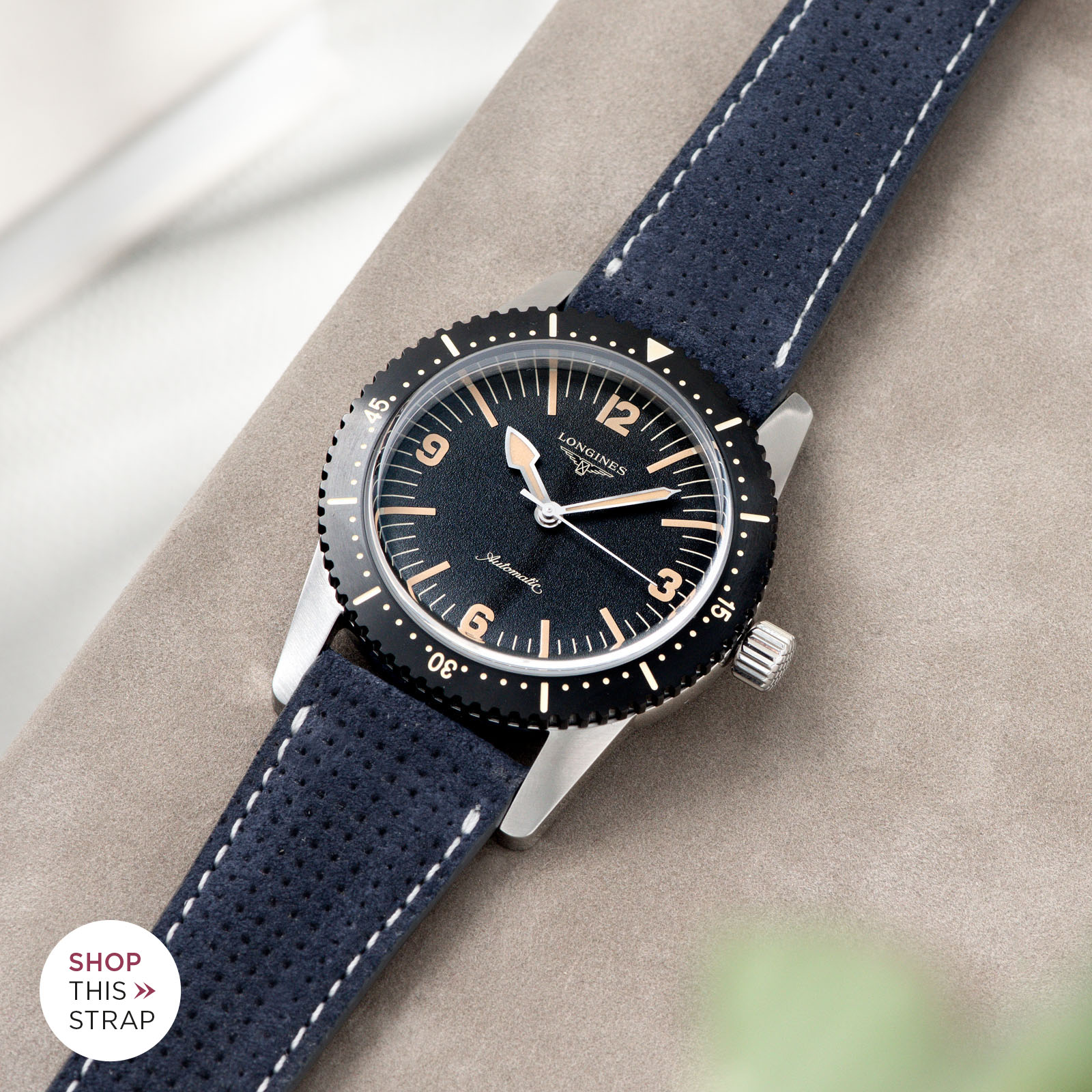 Bulang and Sons_Strap Guide_Longines Skin Diver_Punched Blue Silky Suede Leather Watch Strap