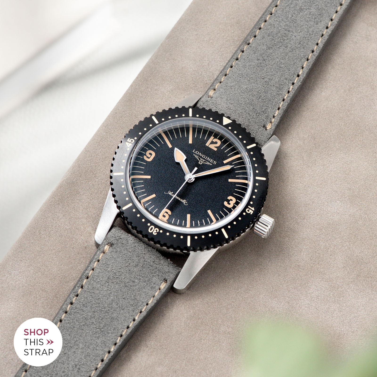 Bulang and Sons_Strap Guide_Longines Skin Diver_Refined Rugged Grey Silky Suede Leather Watch Strap