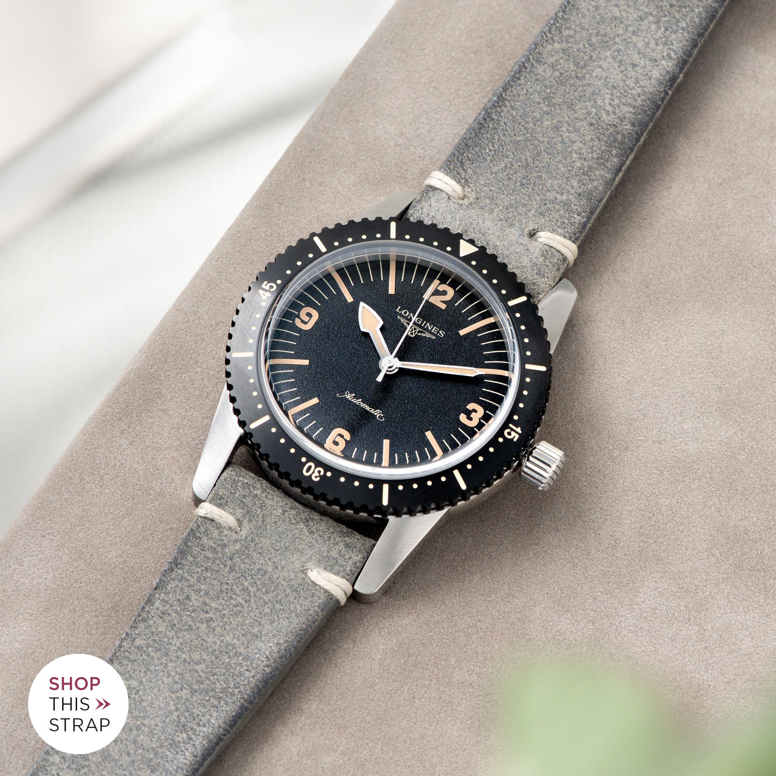 Bulang and Sons_Strap Guide_Longines Skin Diver_Rugged Grey Leather Watch Strap