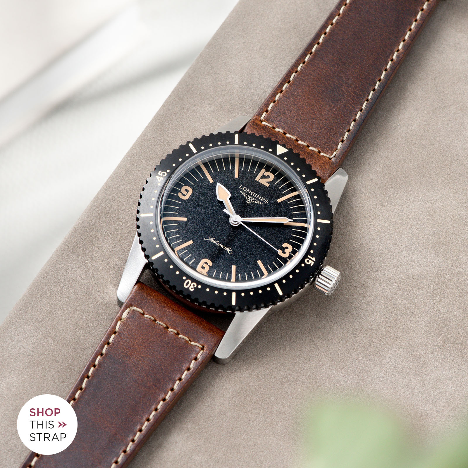 Bulang and Sons_Strap Guide_Longines Skin Diver_Siena Brown Boxed Stitch Leather Watch Strap