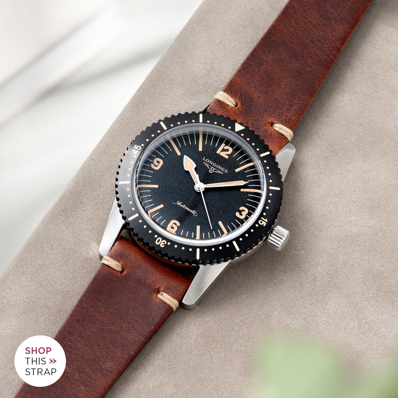 Bulang and Sons_Strap Guide_Longines Skin Diver_Siena Brown Leather Watch Strap