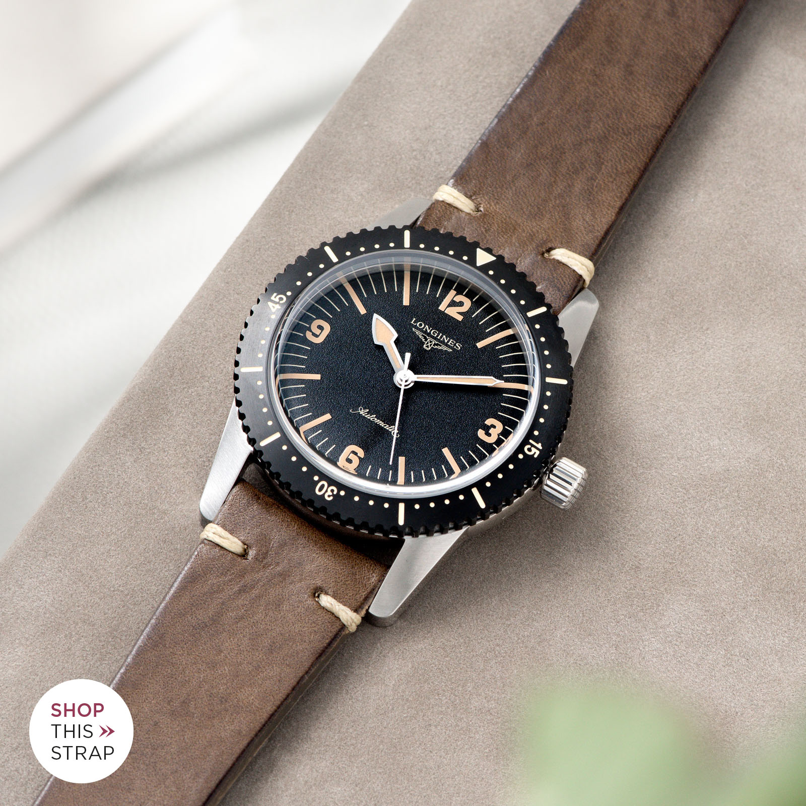 Bulang and Sons_Strap Guide_Longines Skin Diver_Smokeyjack Grey Leather Watch Strap